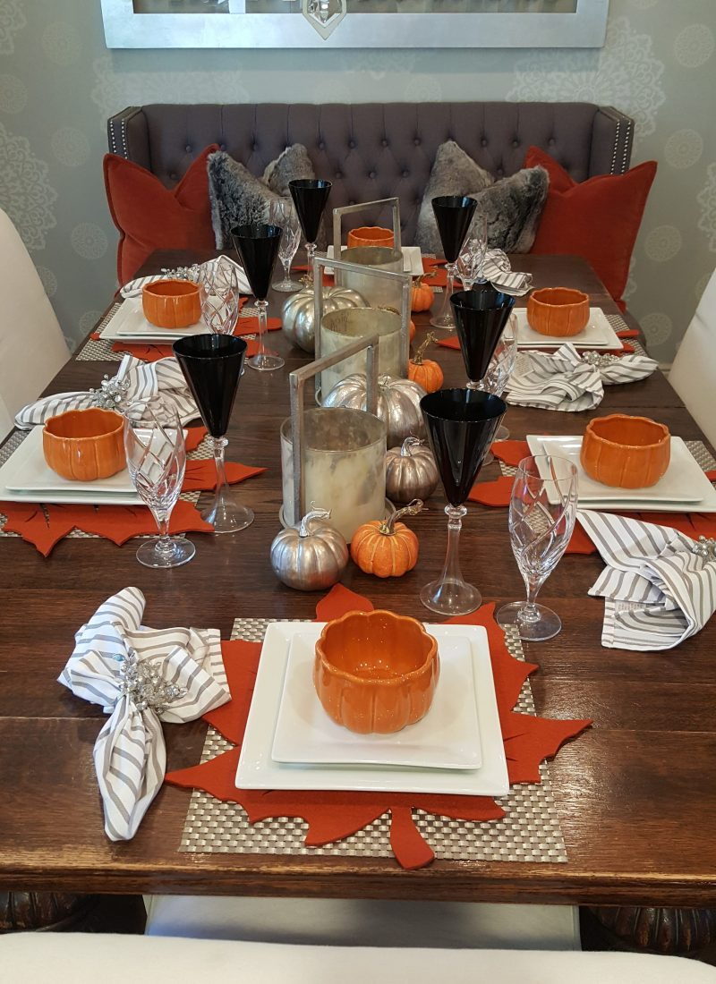 Contemporary Fall or Thanksgiving Table Setting