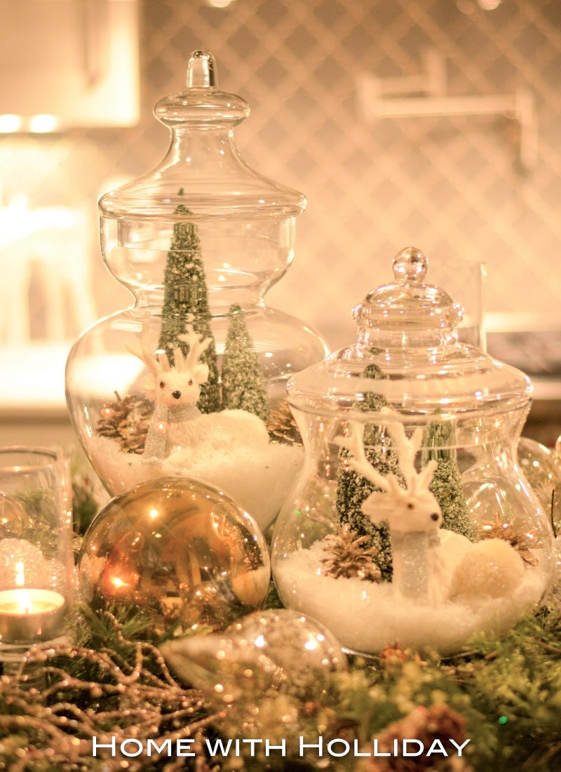 Christmas Centerpiece with Apothecary Jars