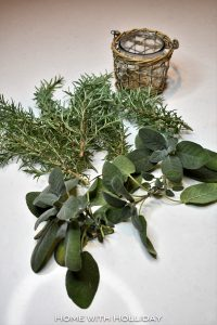 Making an arrangement with herbs