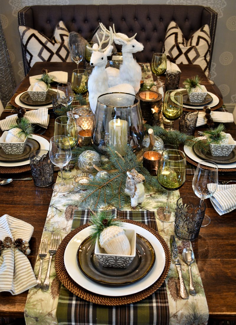 Rustic Winter Christmas Table Setting
