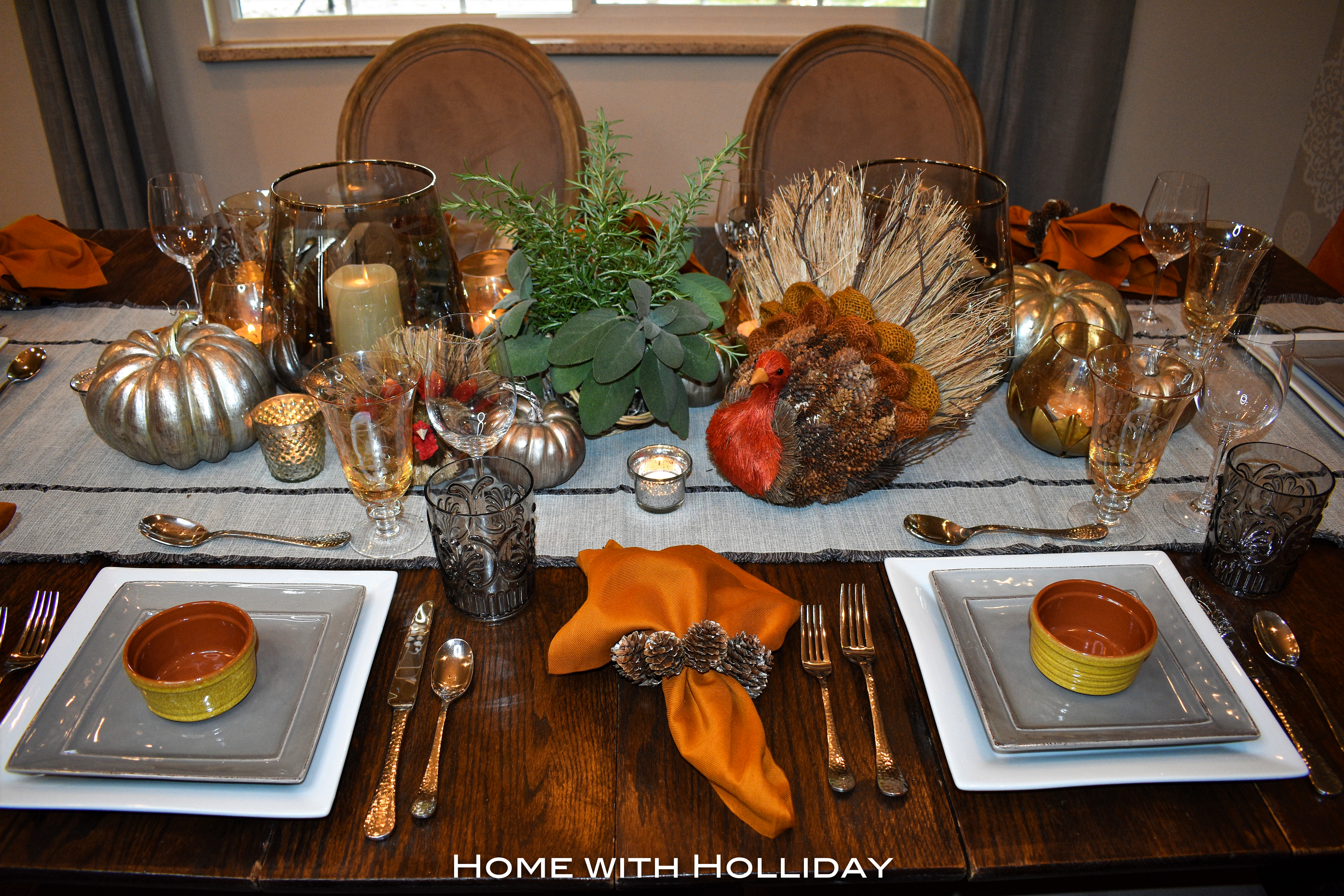 Casual Fall Table Setting with Herbs