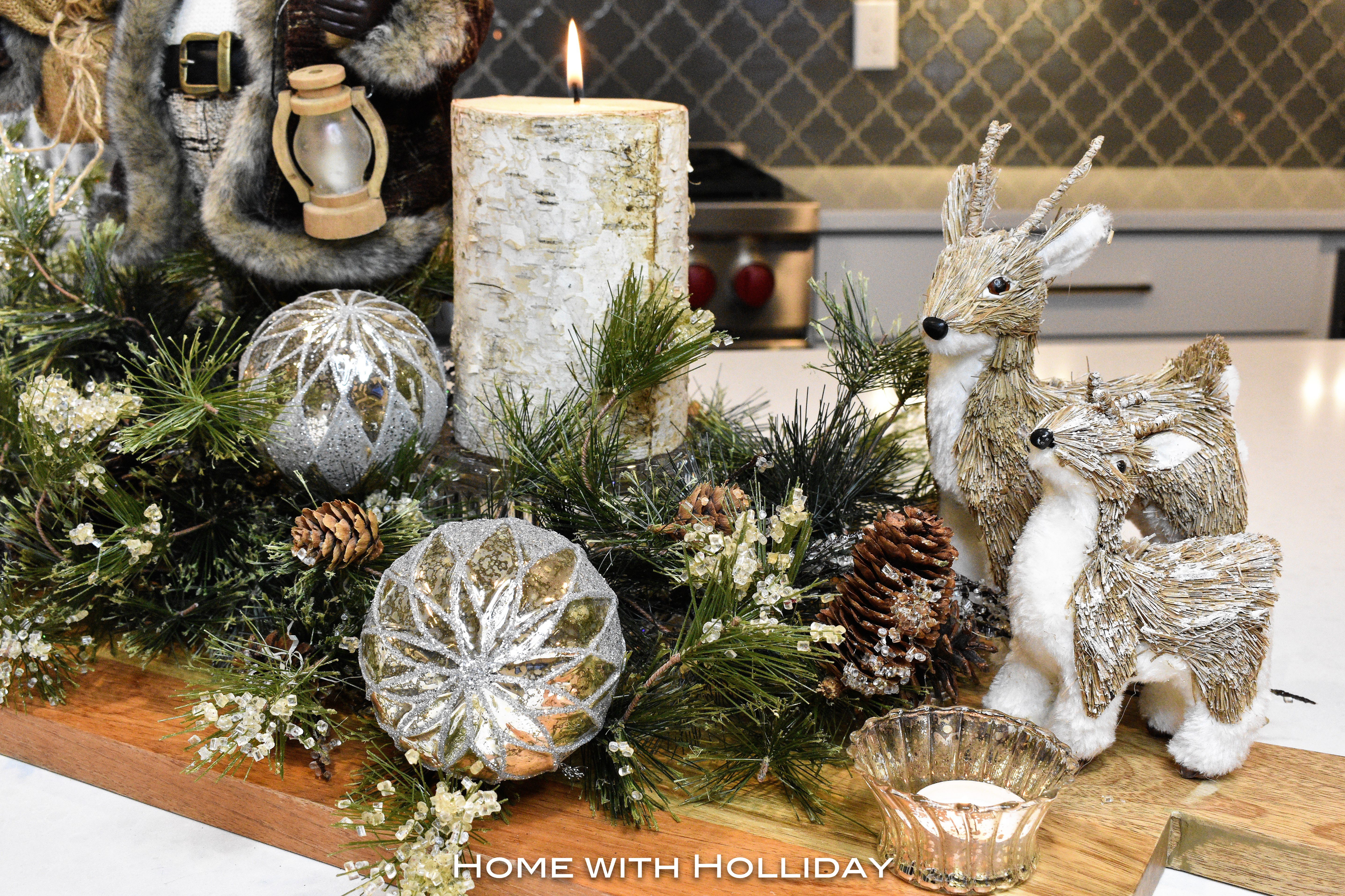 Rustic Winter Christmas Centerpiece with Deer Figurines - Home with Holliday