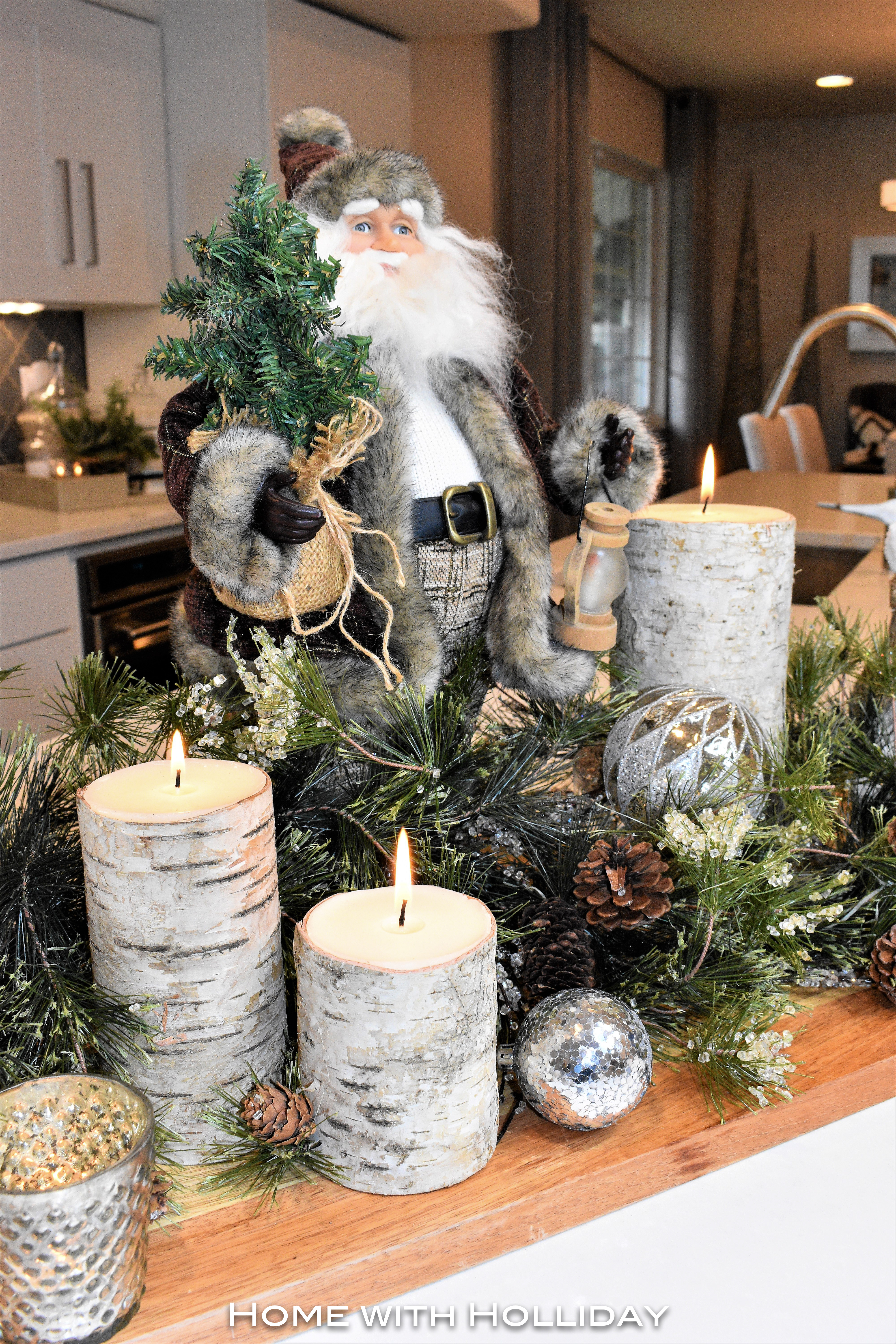 Rustic Winter Christmas Centerpiece with Santa