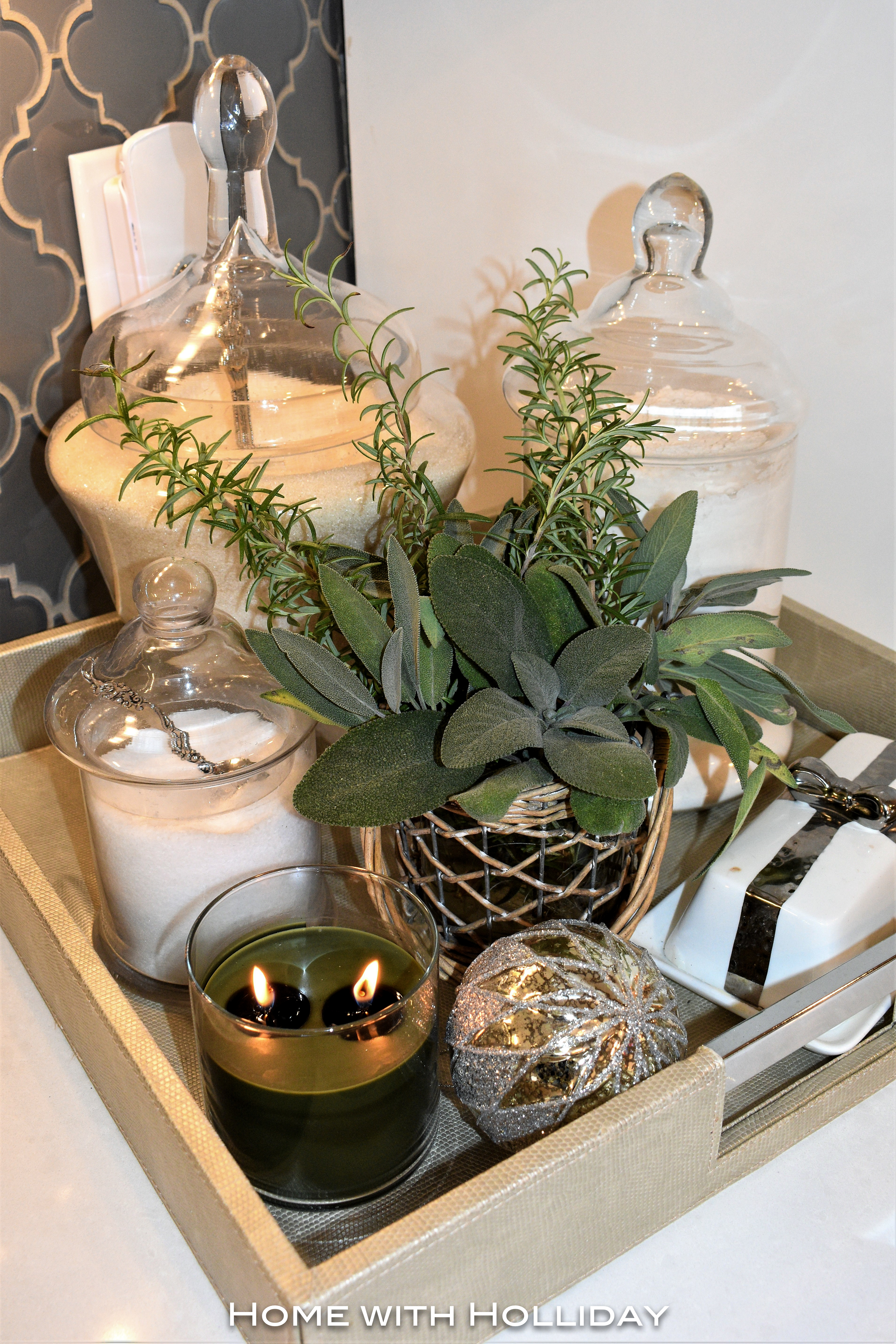 Rustic Winter Christmas Vignette with Apothecary Jars and Fresh Herbs - Home with Holliday