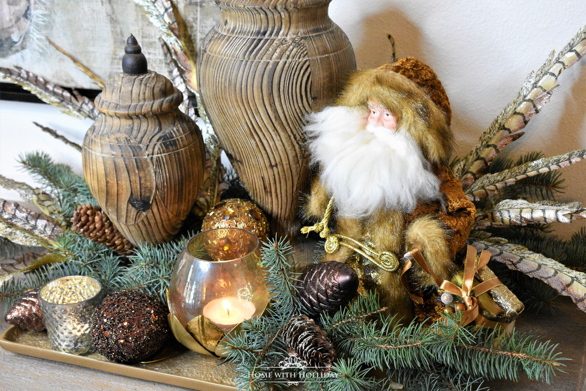Decorating a Tray for Christmas 6 Ways - Copper Fur Santa - Home with Holliday