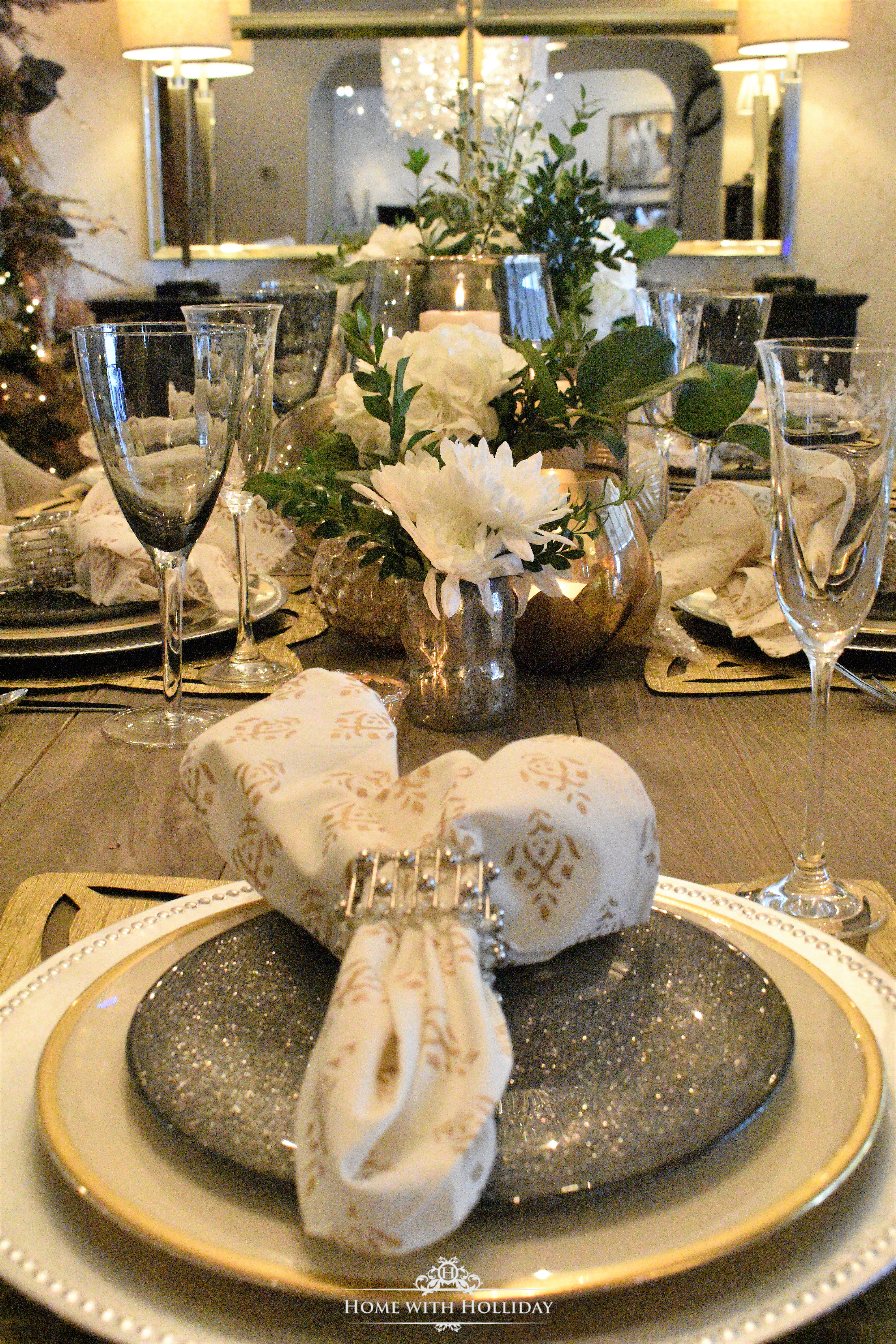 Place Setting and Centerpiece for Gold and Silver Table Setting