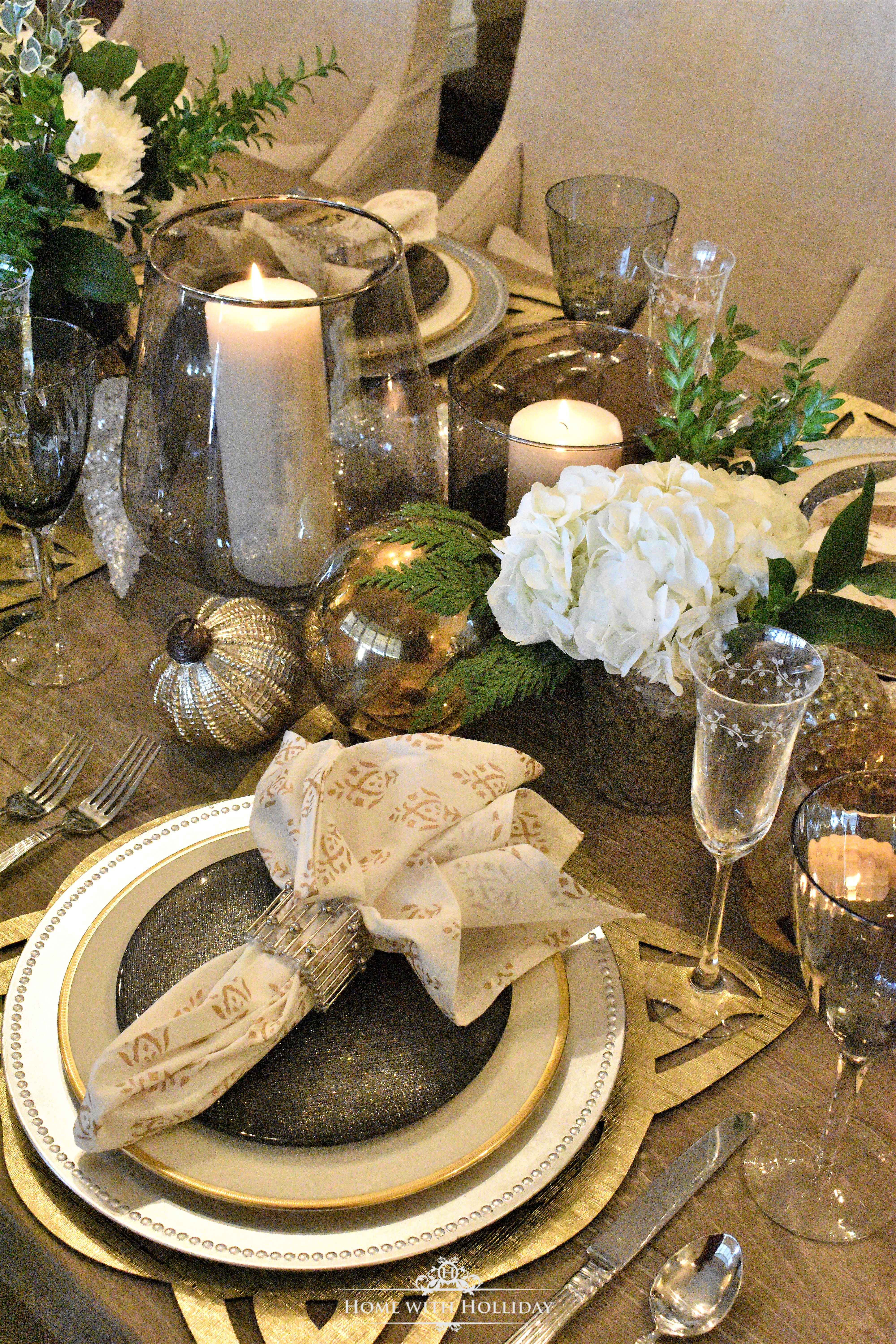 Gold and Silver Place Setting for New Year's or Christmas - Home with Holliday