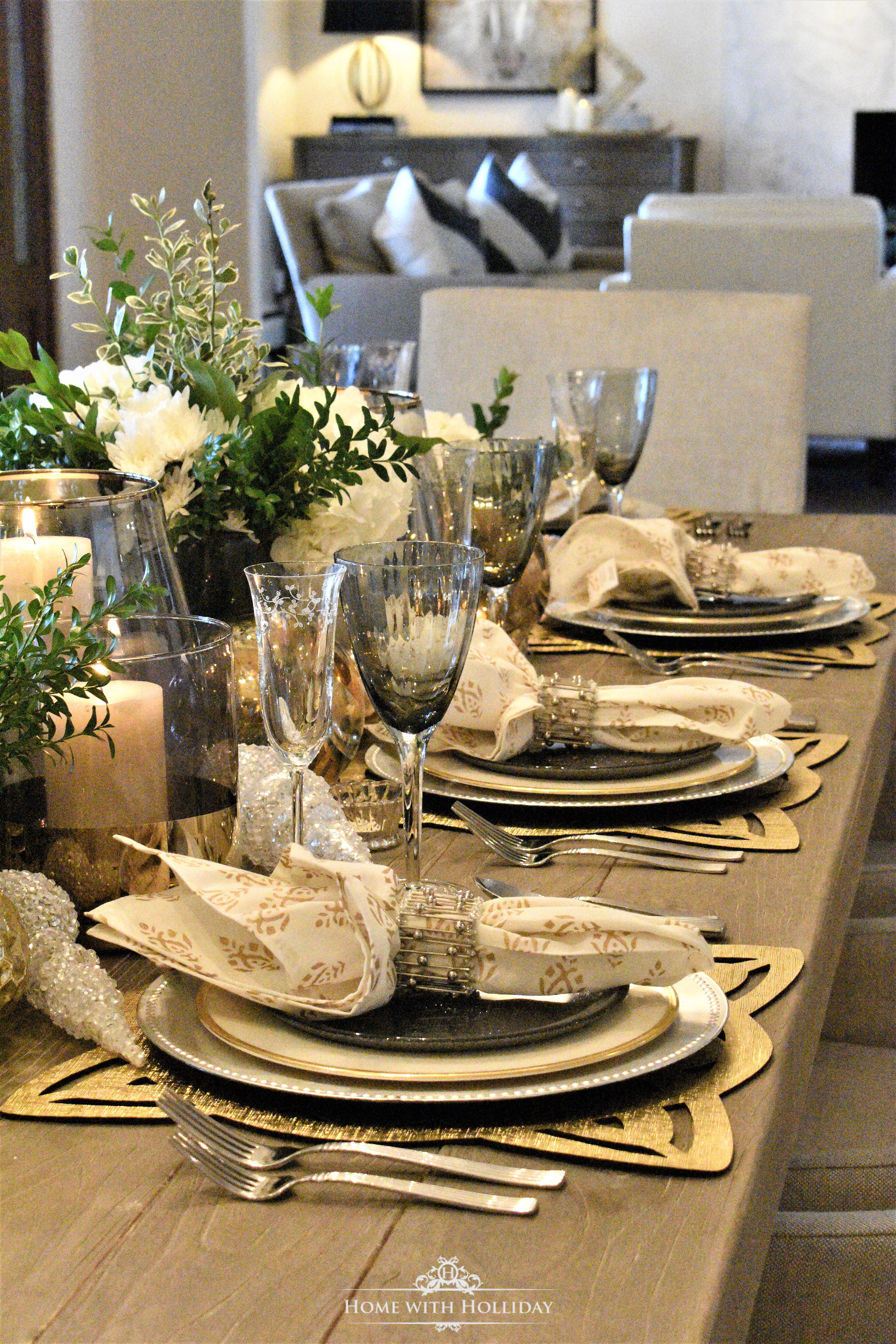 Place Settings for Gold and Silver Table Setting for Christmas or New Year's Eve