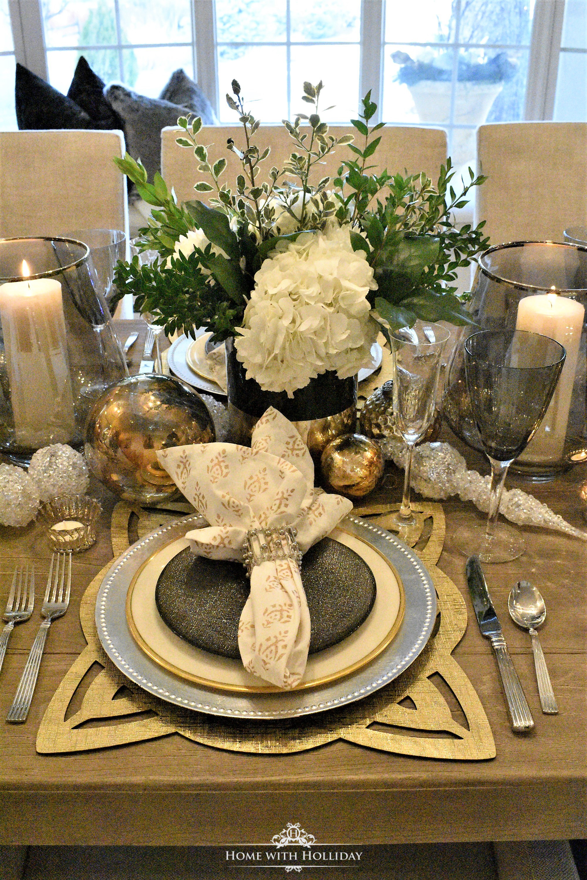 Place Settings for my Gold and Silver Table Setting for Christmas or New Year's Eve - Home with Holliday