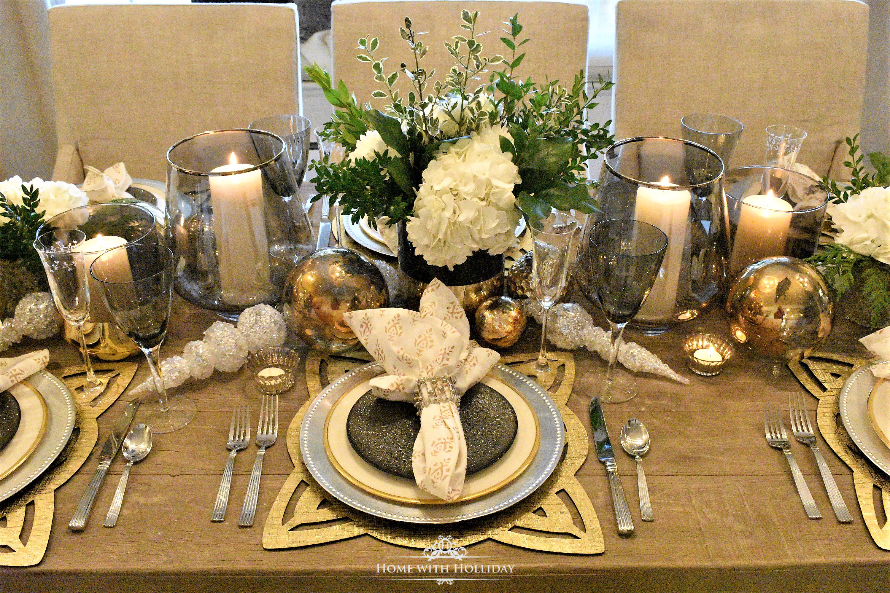 Gold and Christmas Table Setting Centerpiece - Home with Holliday
