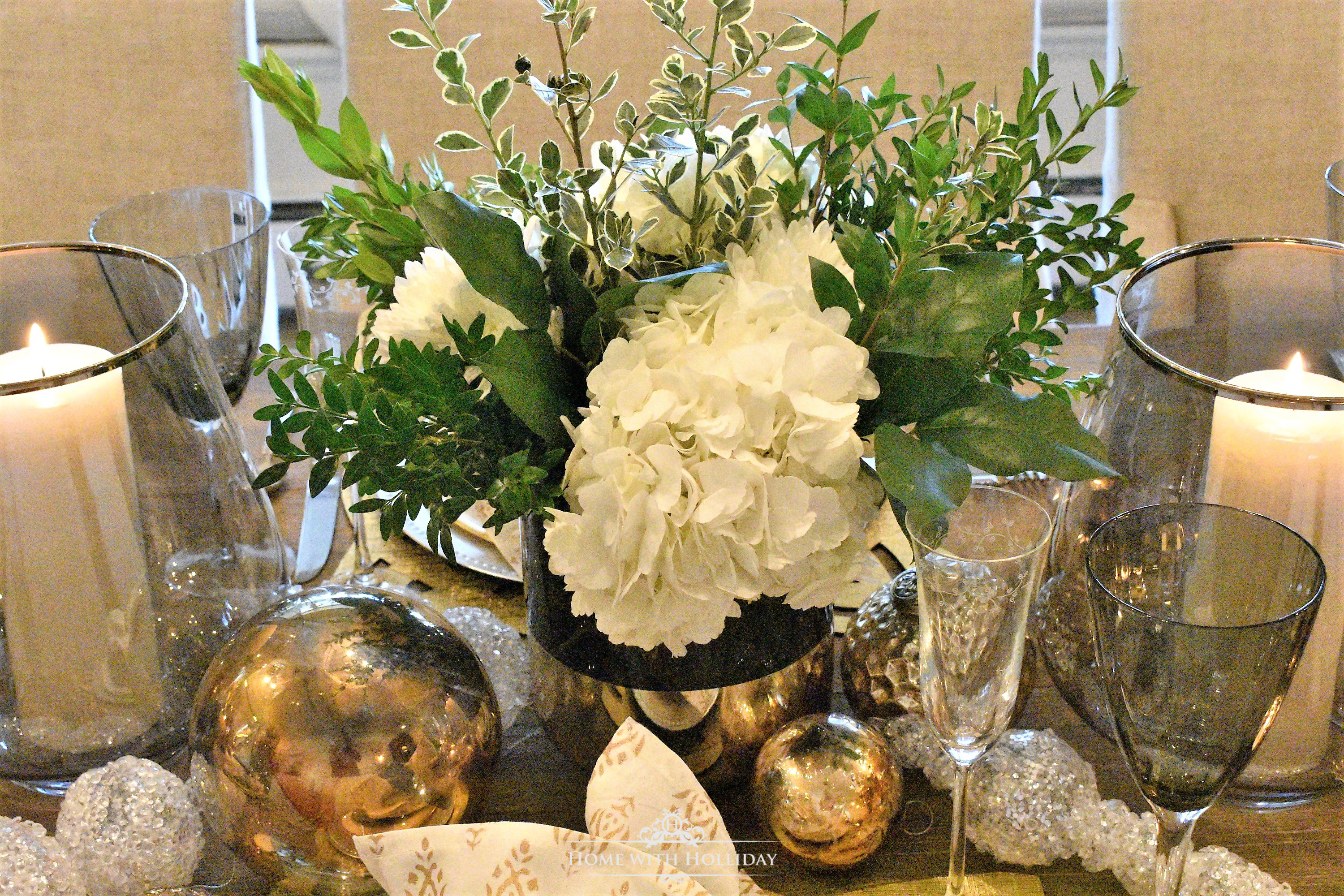 The Centerpiece for my Gold and Silver Table Setting for Christmas or New Year's Eve - Home with Holliday