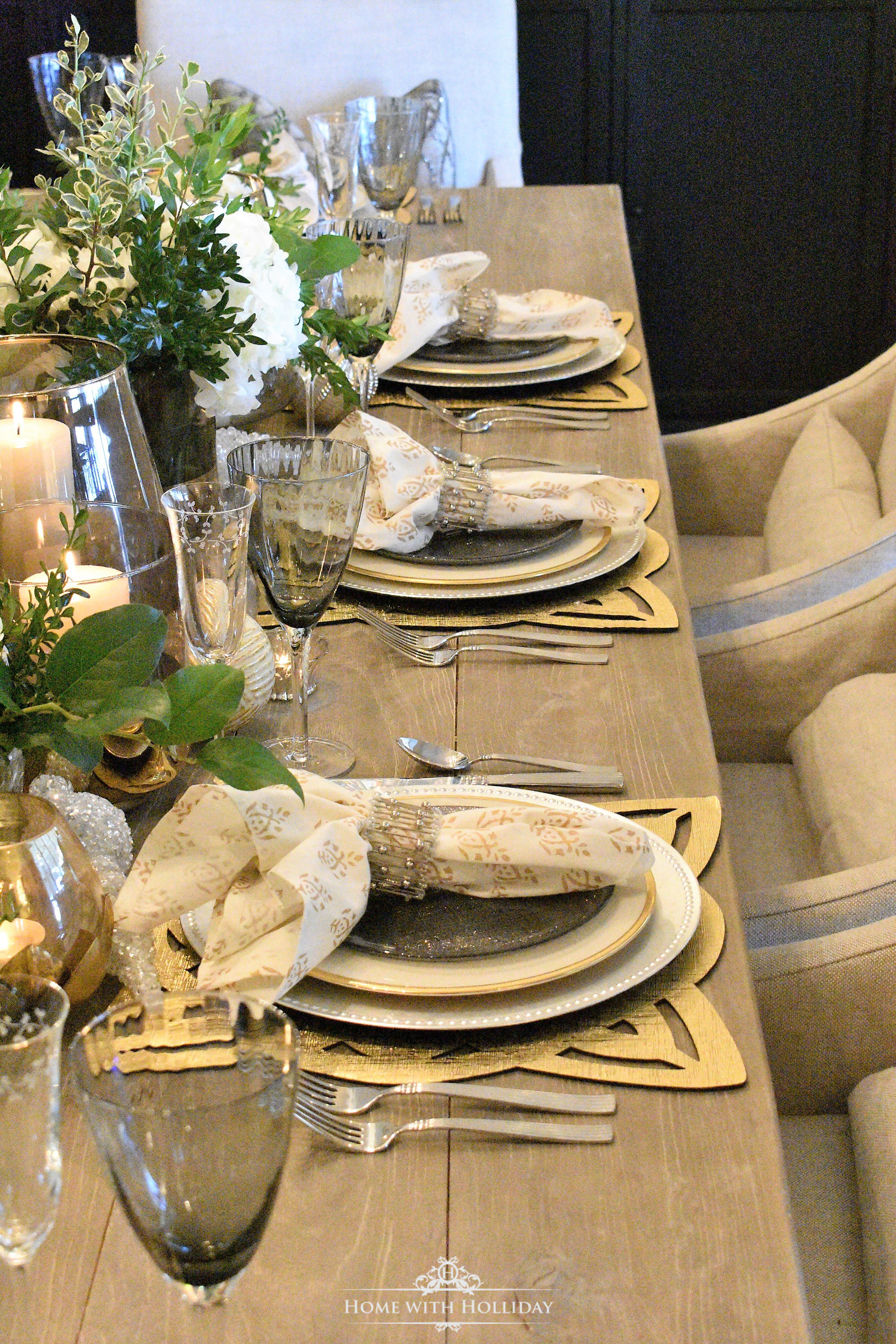 Place Settings for Gold and Silver Table Setting for New Year's Eve or Christmas