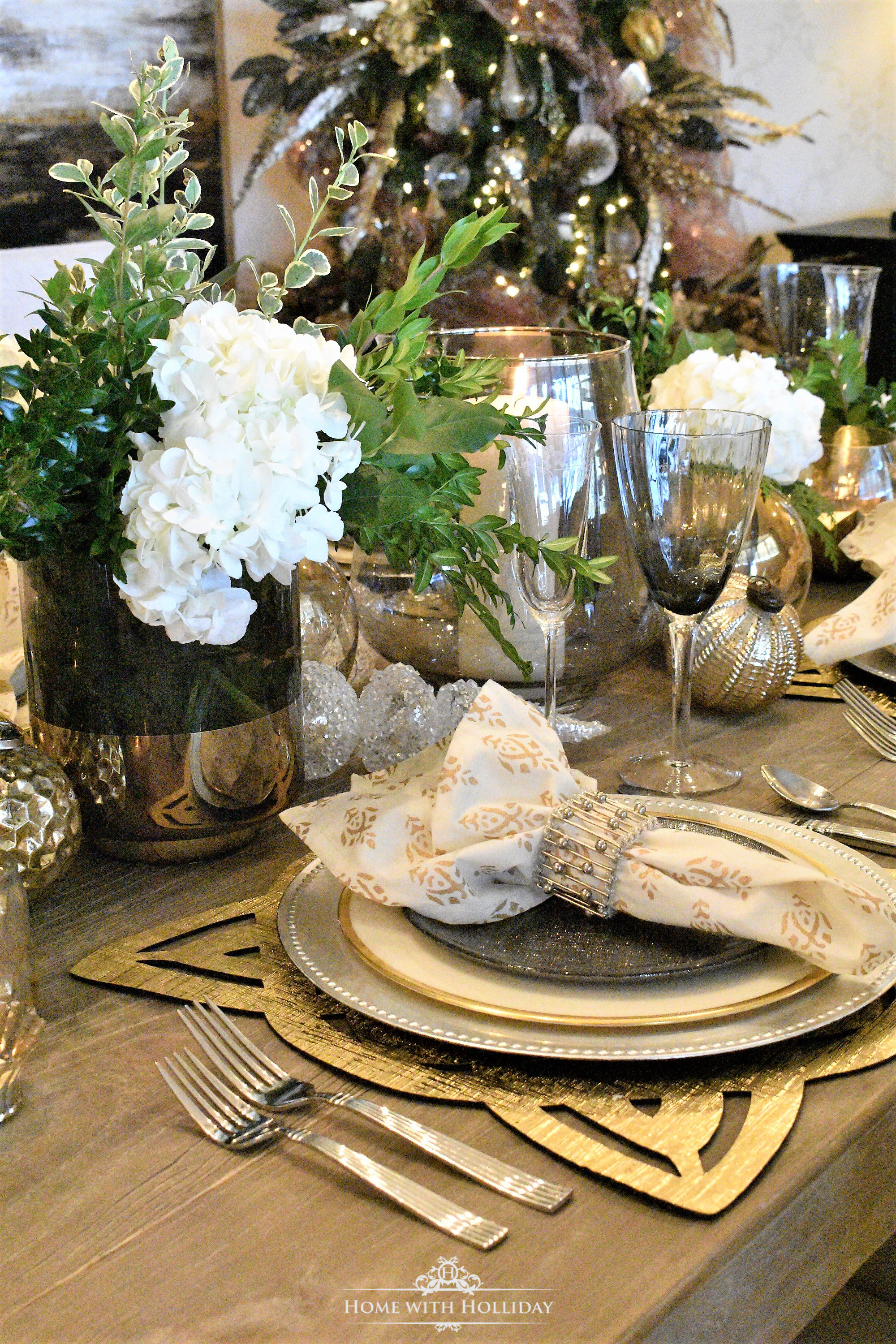 Flowers for Gold and Silver Table Setting Centerpiece - Home with Holliday