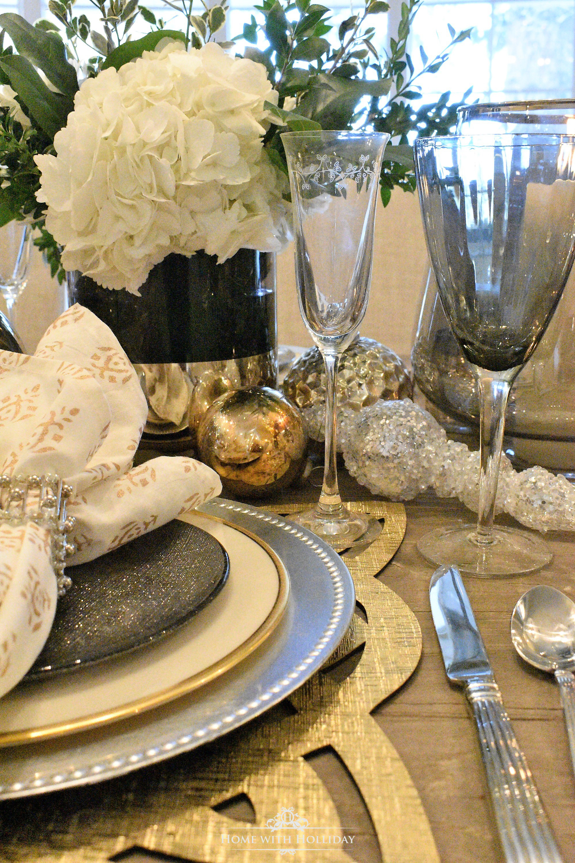 Gold and Silver Table Setting Centerpiece Close-up - Home with Holliday