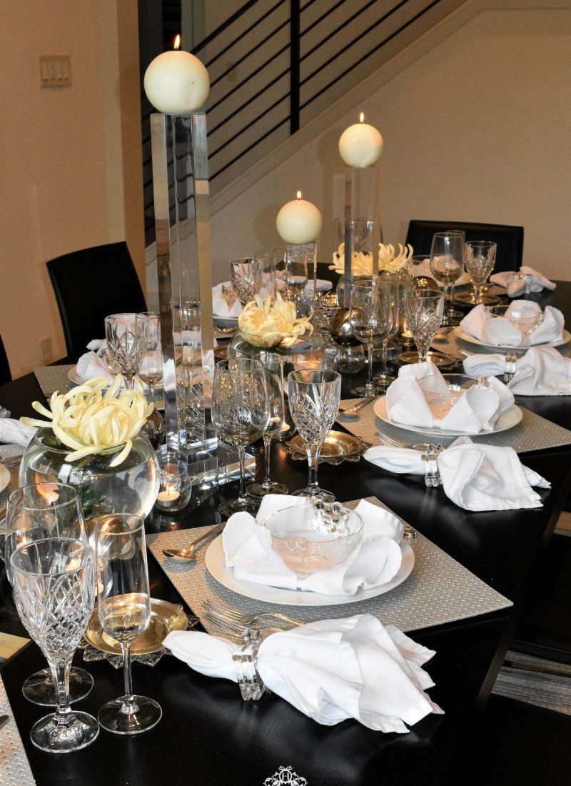 Silver and White New Year's Eve Table Setting