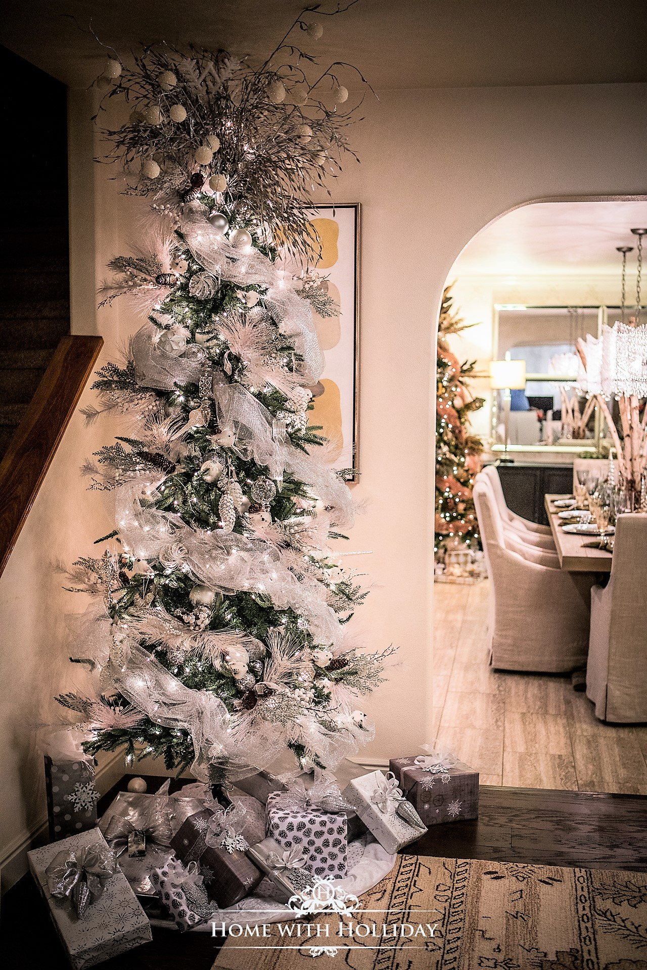 Rustic Winter White and Silver Christmas Tree