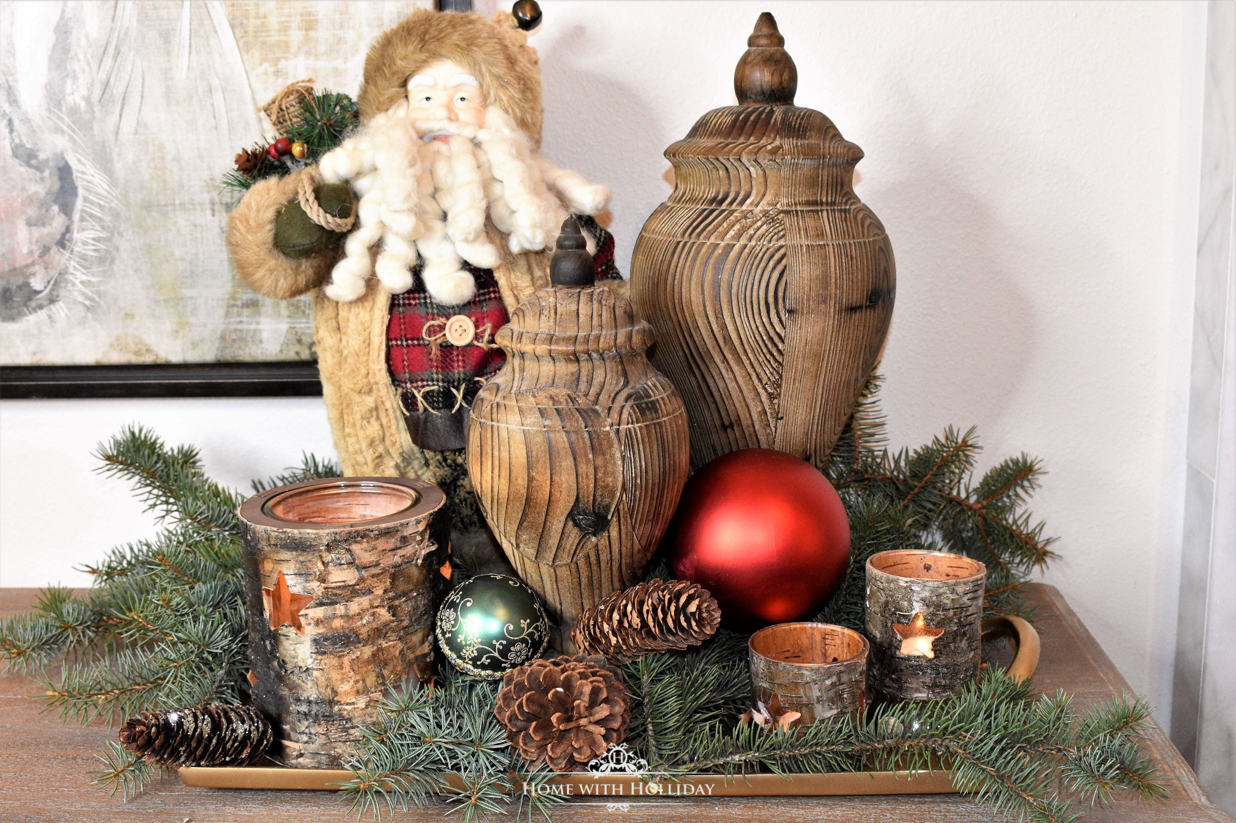 Decorating a Tray for Christmas 6 Ways - Rustic Santa - Home with Holliday