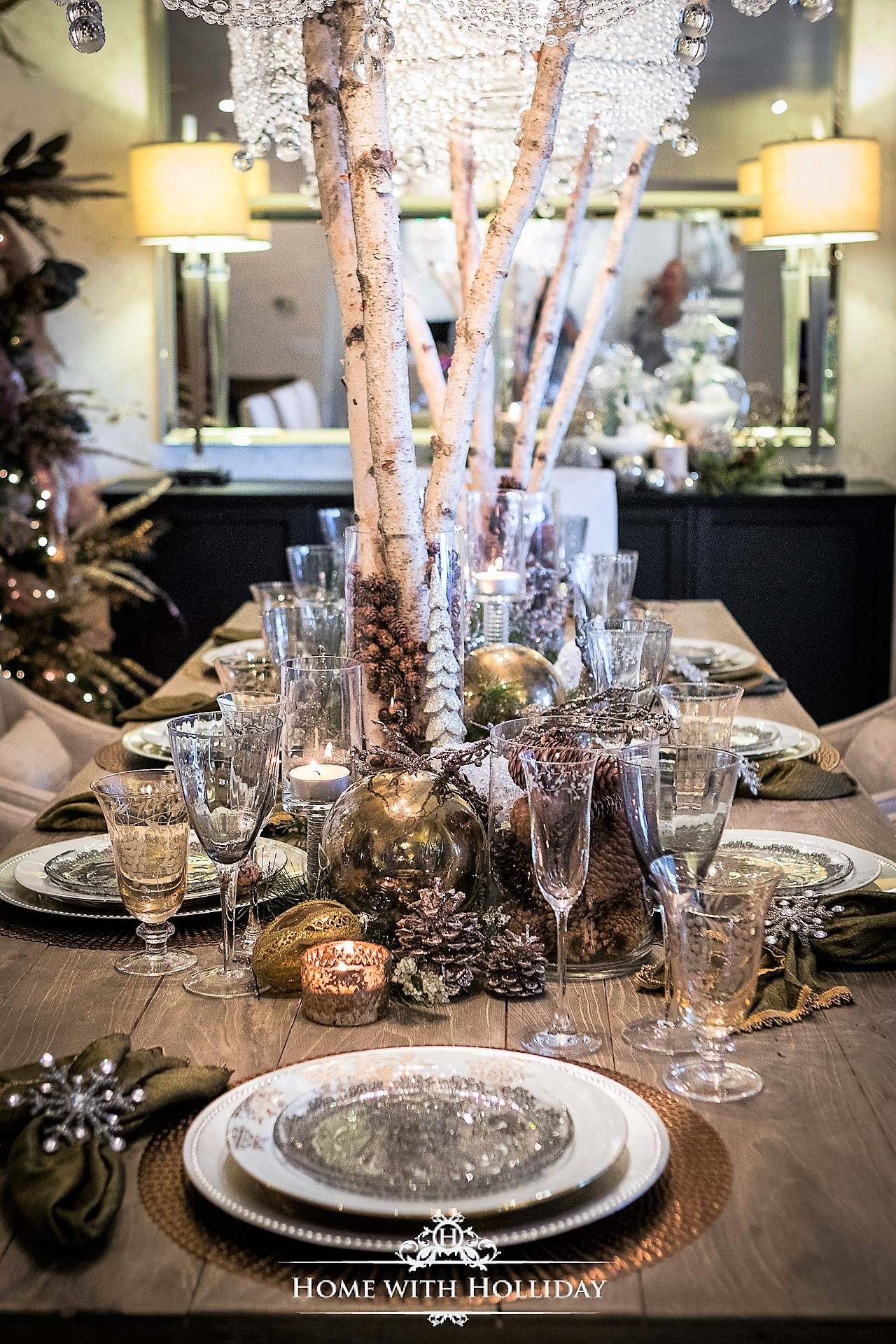 Image of: Christmas Home Tour 2017 Winter Glam Dining Room Home With Holliday
