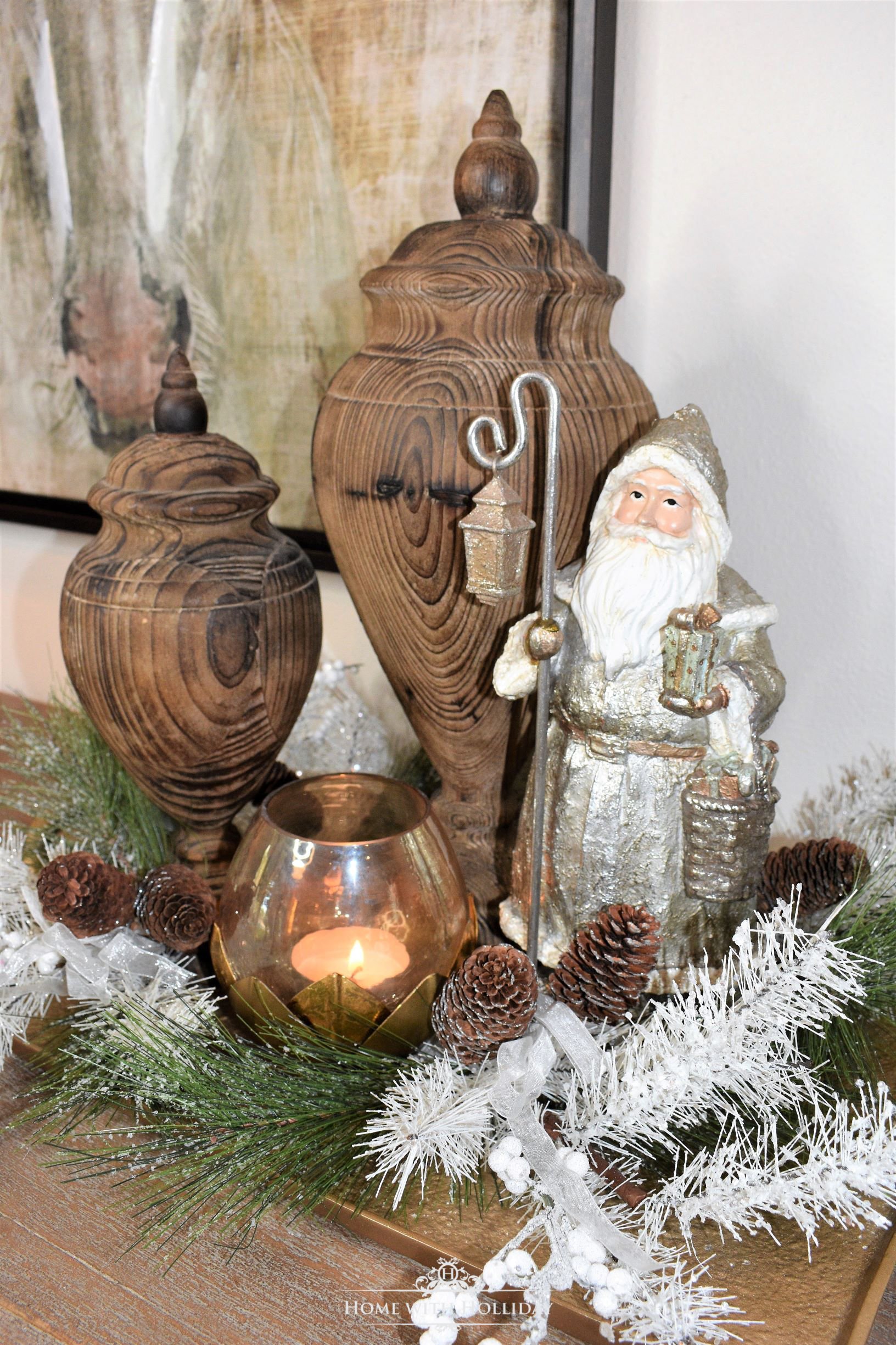 Decorating a Tray for Christmas 6 Ways - Winter Santa - Home with Holliday