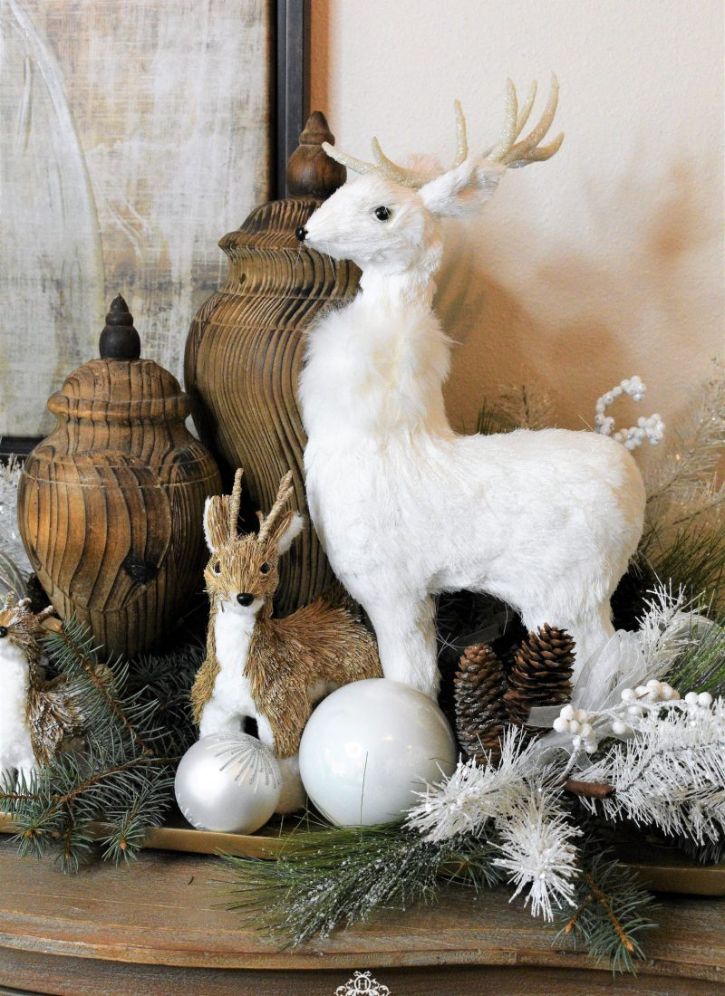 Simple Woodland Winter White Christmas Centerpiece - Home with Holliday