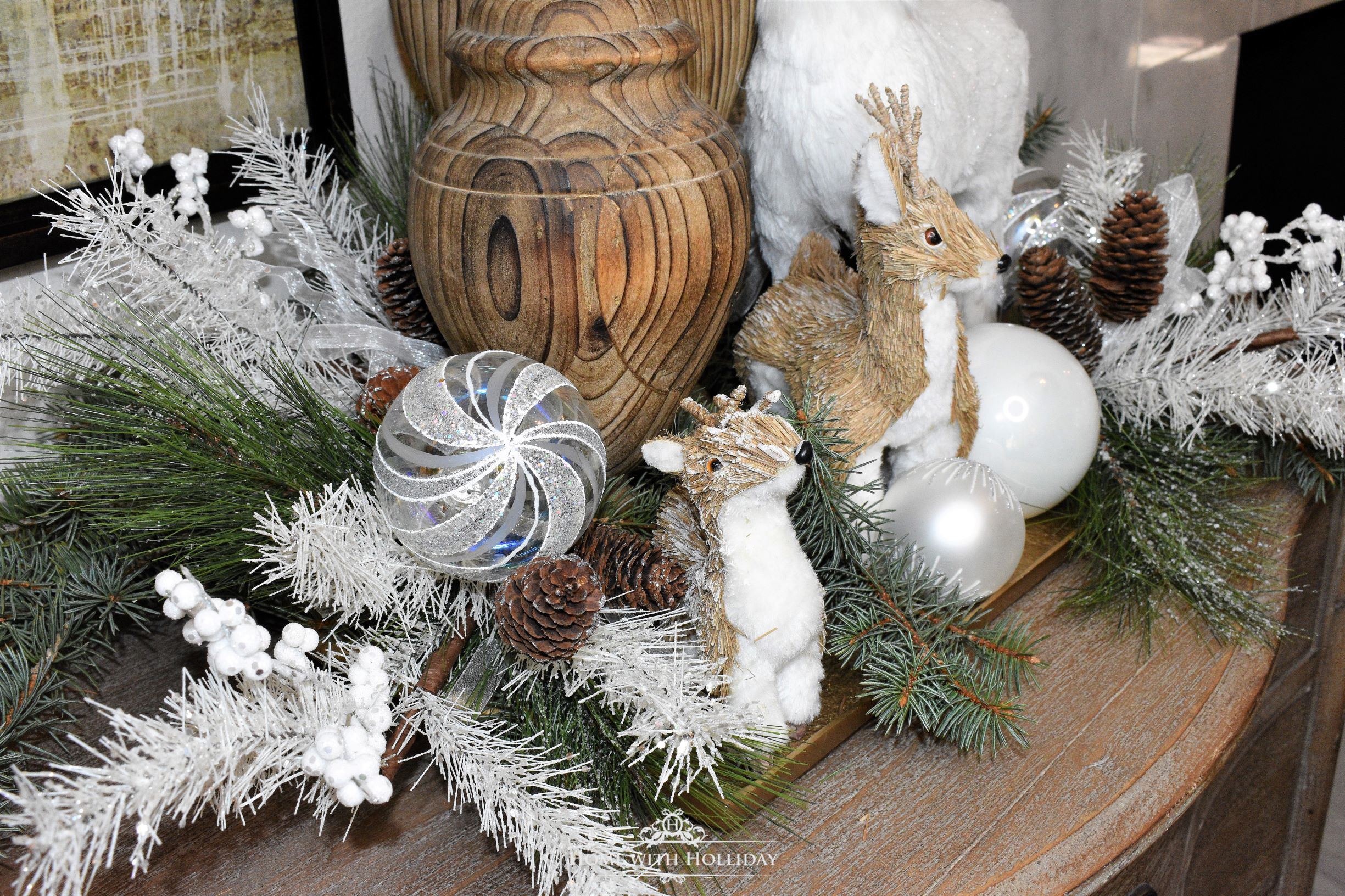 Decorating a Tray for Christmas 6 Ways - Winter White Deer - Home with Holliday