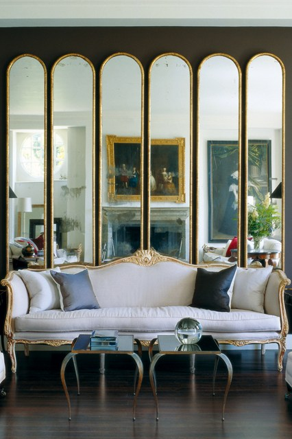 Gold Mirrors in Living Room