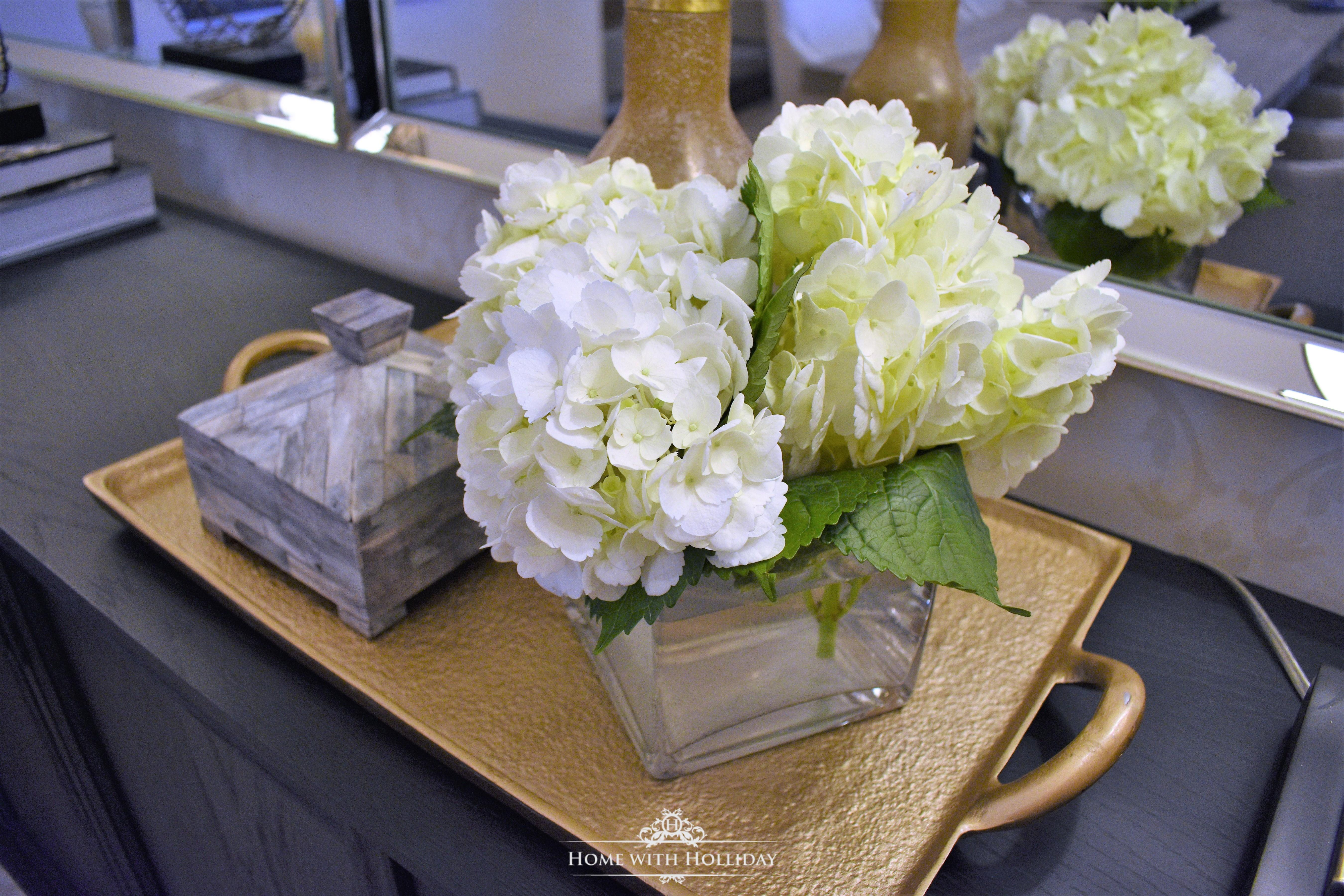 Hydrangeas on a Gold Tray