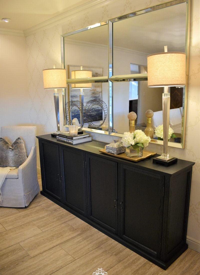 Mirrors over Black Buffet in Dining Room