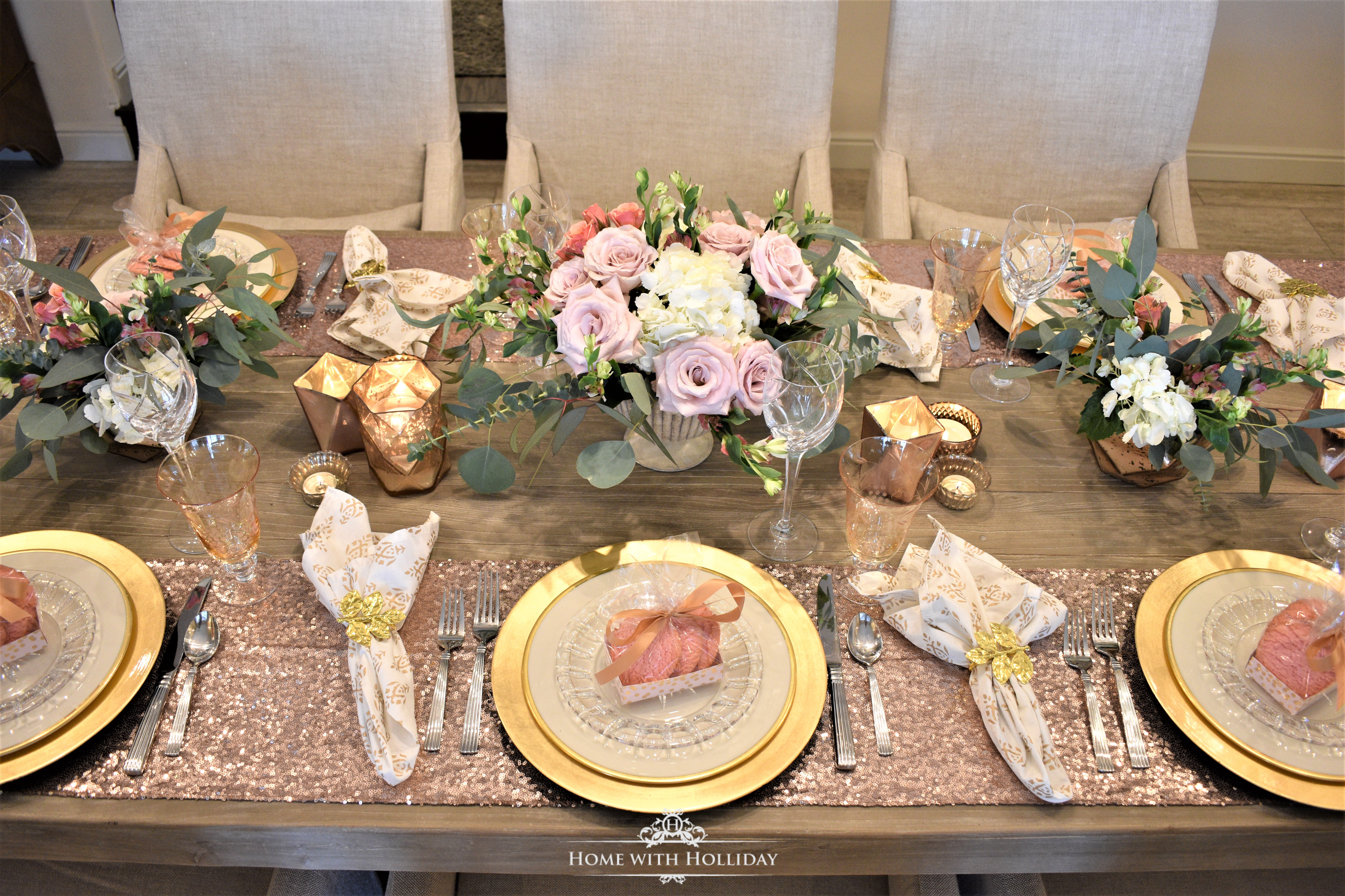 Blush Pink and Gold Galentine's Dinner Party - Home with Holliday