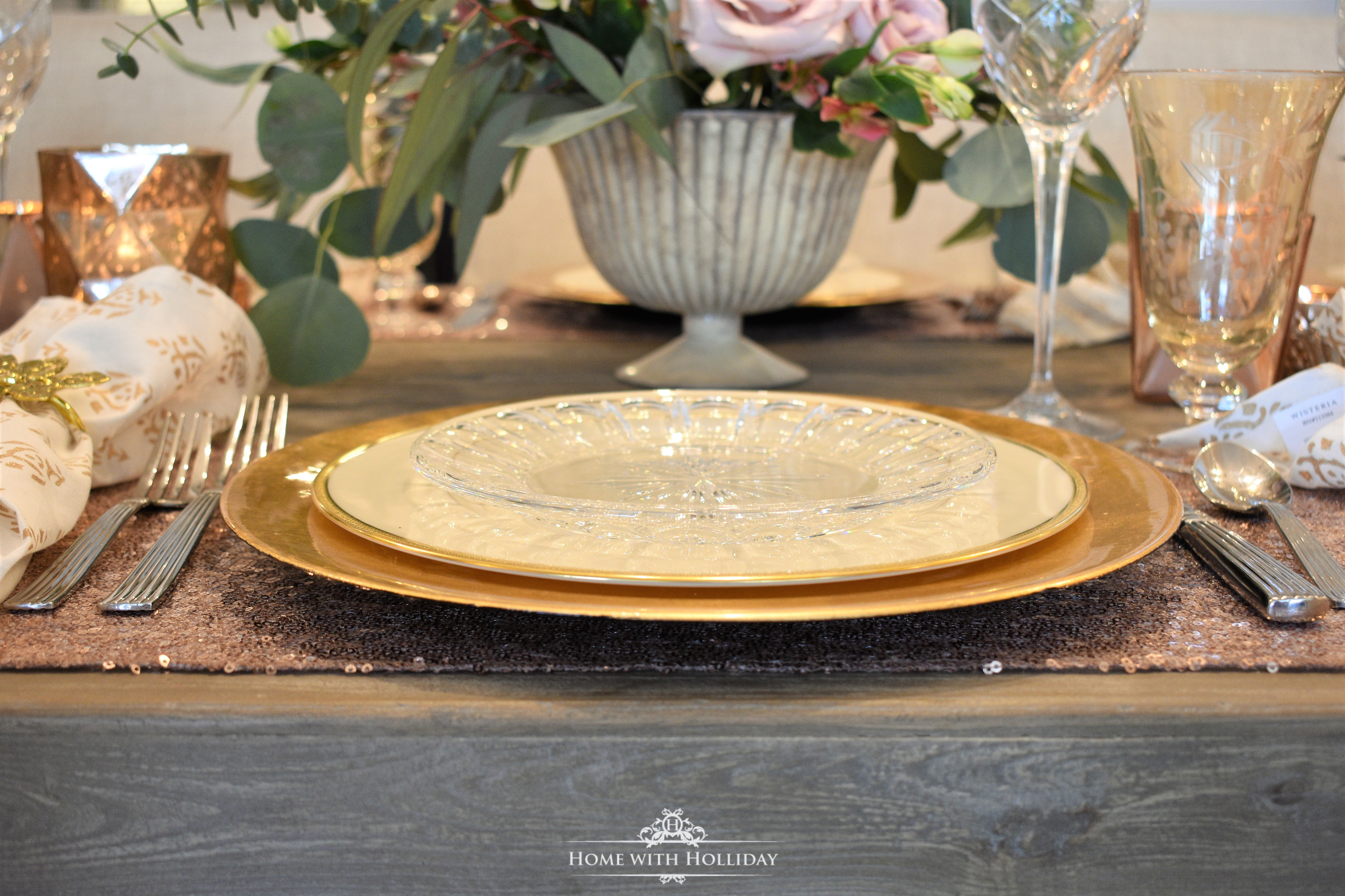 Gold and Blush Galentine's Dinner Party Place Setting - Home with Holliday