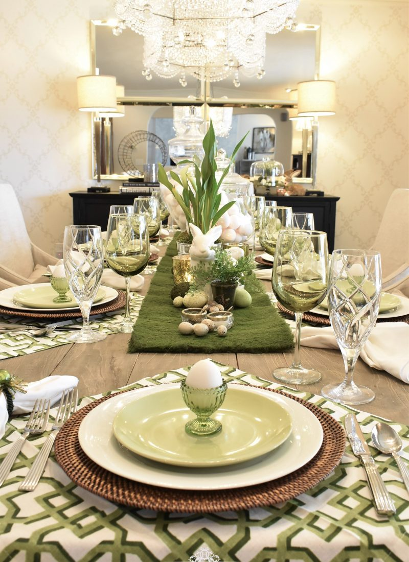 Simple Green and White Easter Decorating Ideas with Moss - Home with Holliday