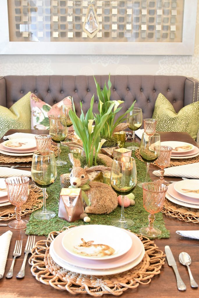 Simple Green and White Easter Decorating Ideas using Moss - Home with Holliday