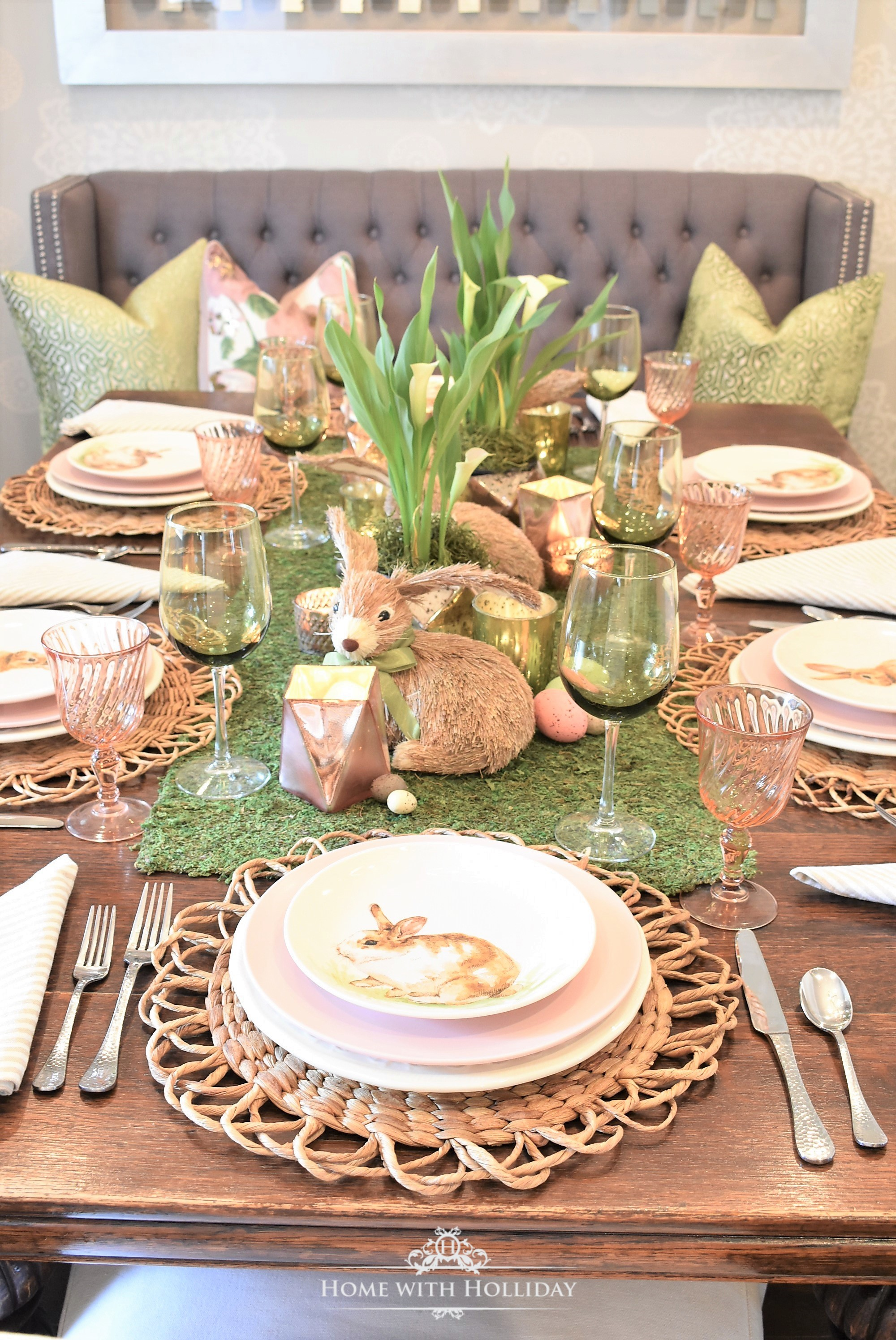 Green And Blush Pink Easter Table Setting Home With Holliday