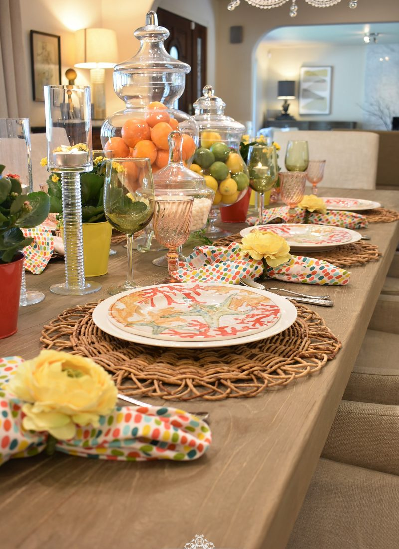 Creating a Simple Tropical Summer Table Setting