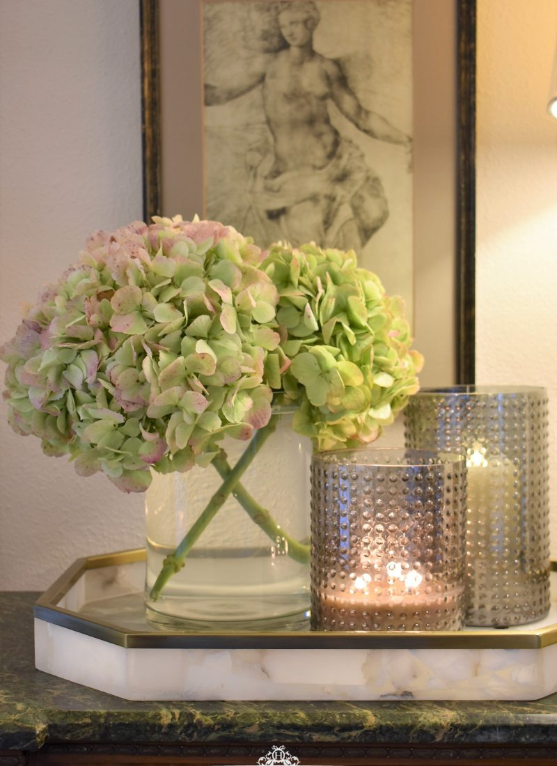 Easy and Elegant Vignette with Hydrangeas