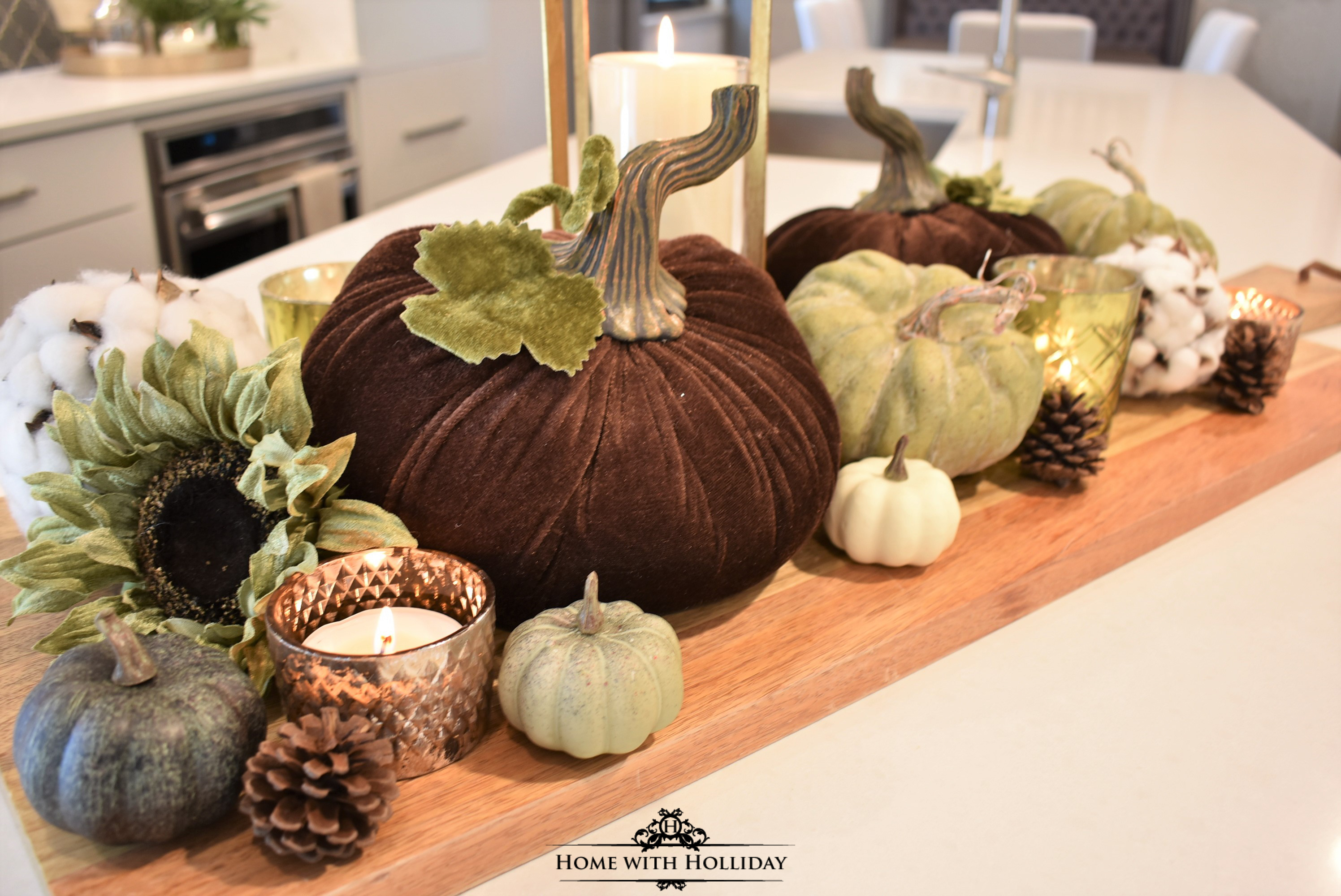 Fall Vignette with Velvet Pumpkins - 6