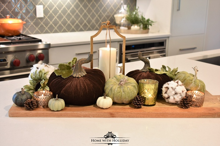 How to create a Fall Vignette with Velvet Pumpkins