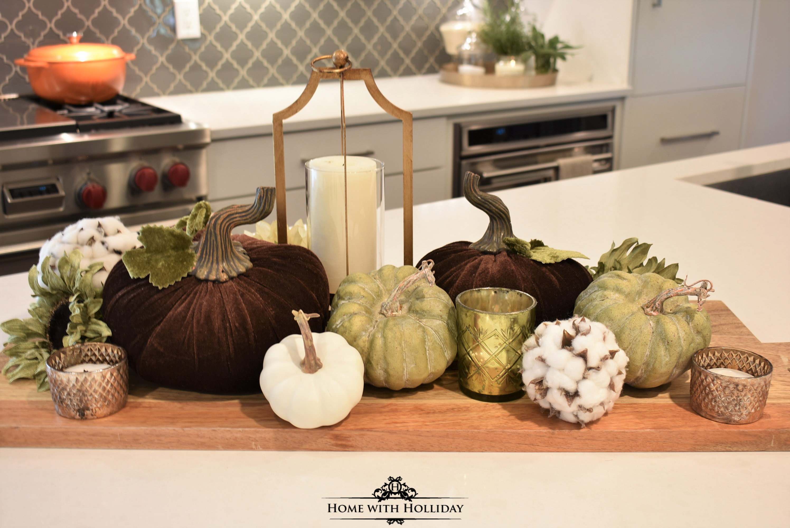 How to created a Fall Vignette with Velvet Pumpkins