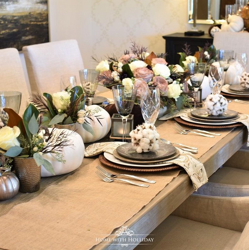 Fall Table Setting with Brown and White Pumpkins