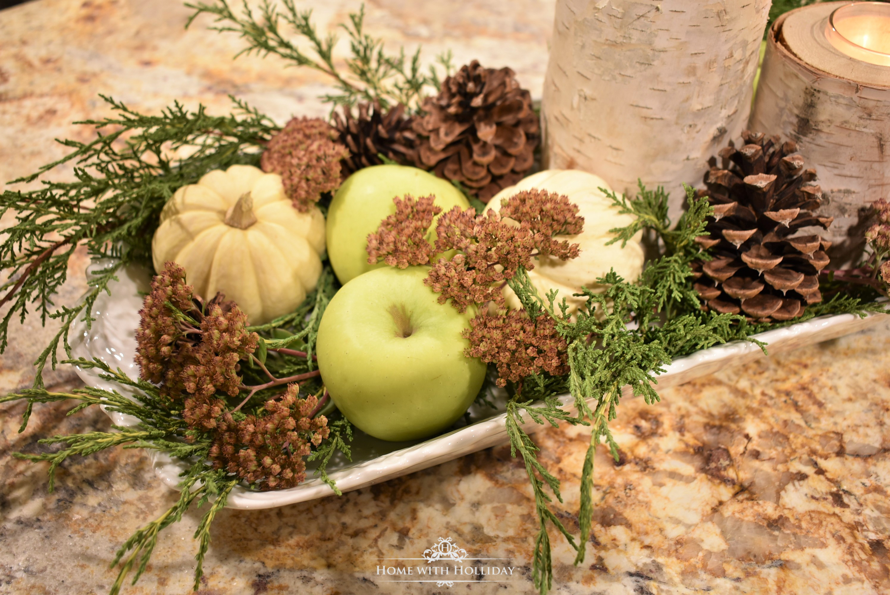 Fall Centerpiece with Green Apples and Pumpkins- Home with Holliday