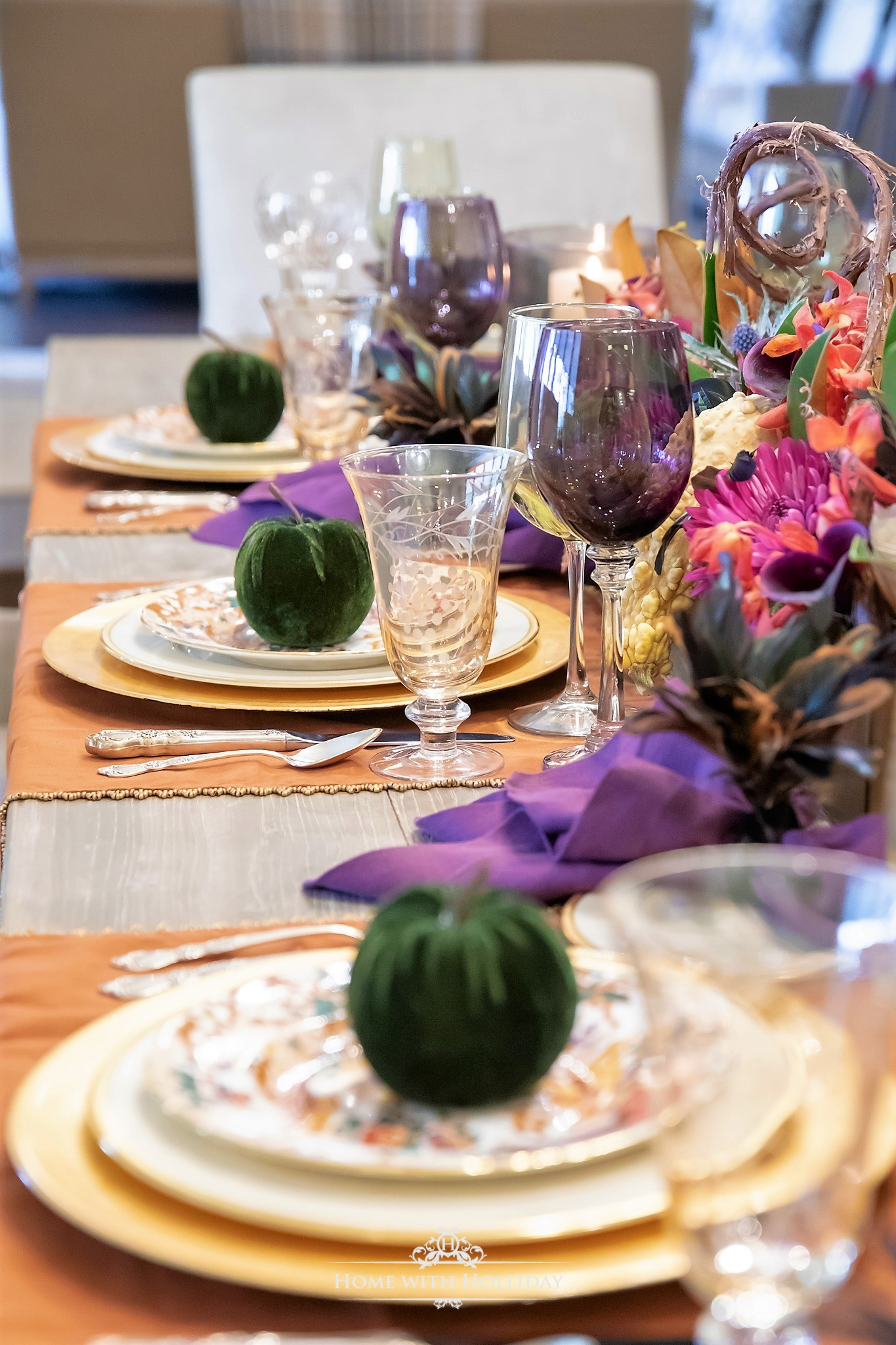 My Top Ten Posts of 2018 - Jewel-Toned Thanksgiving Table Setting - Home with Holliday