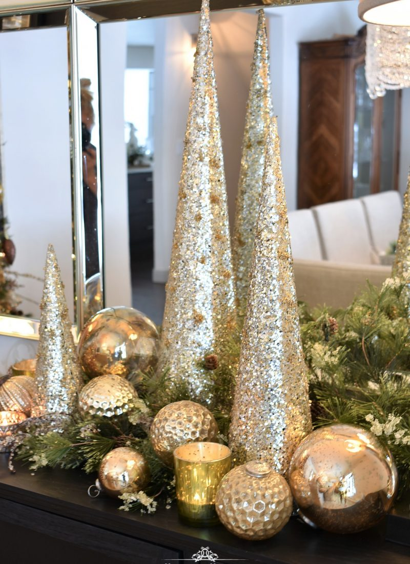 Gold Christmas Cone Trees on a dining room buffet