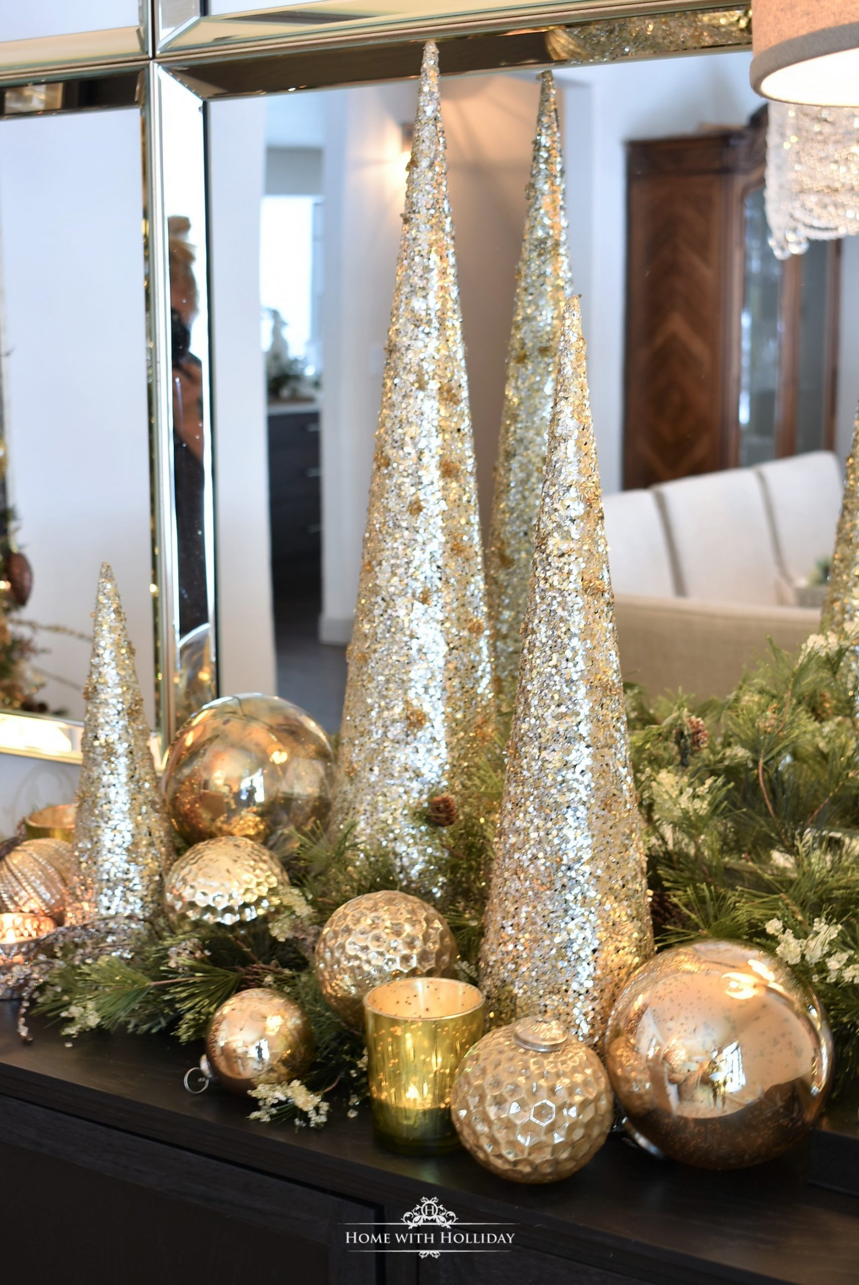 Silver and Gold Glam Christmas Centerpiece with gold cone trees and ornaments