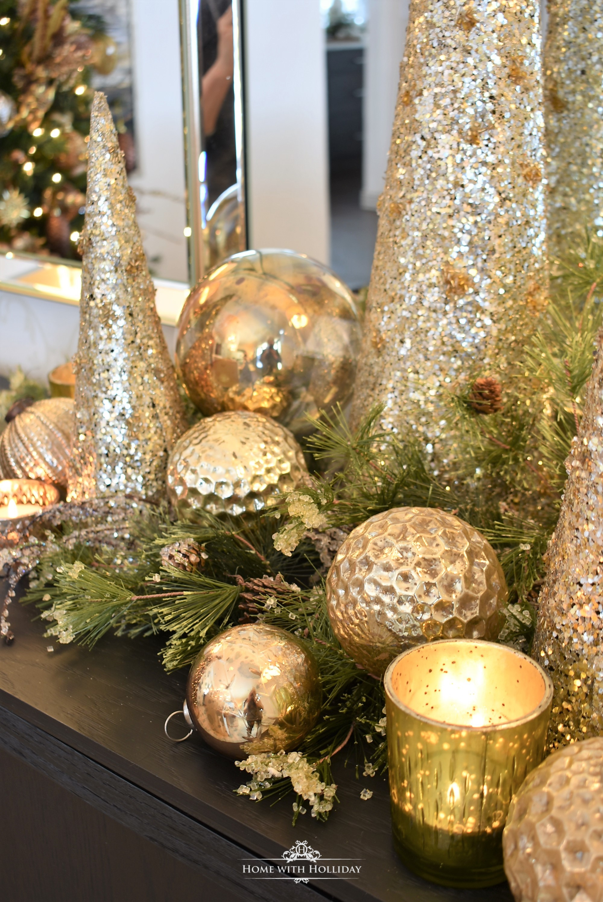 Simple Silver and Gold Glam Christmas Centerpiece with gold ornament balls and votives