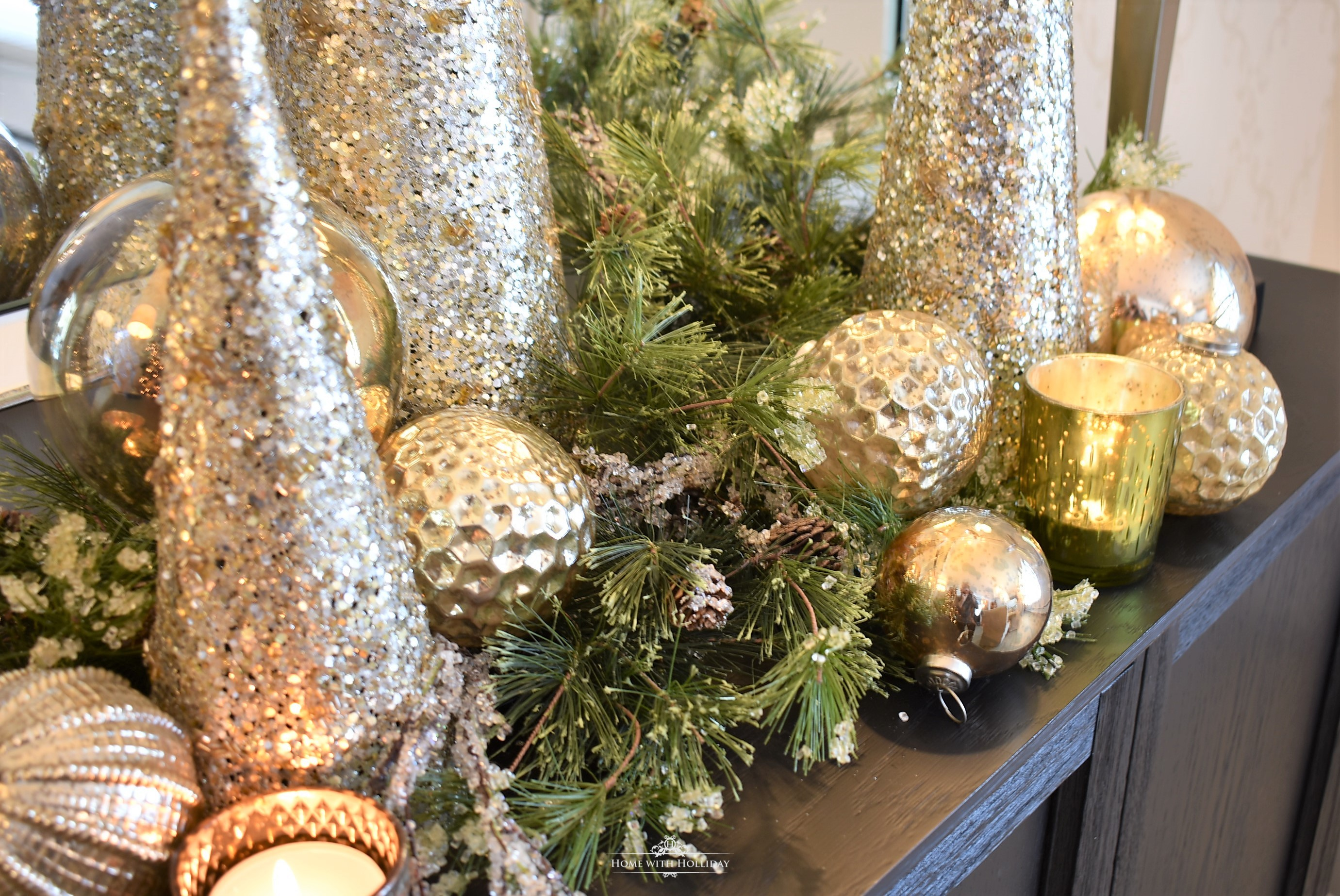 Easy Silver and Gold Glam Christmas Centerpiece with gold balls and cone trees