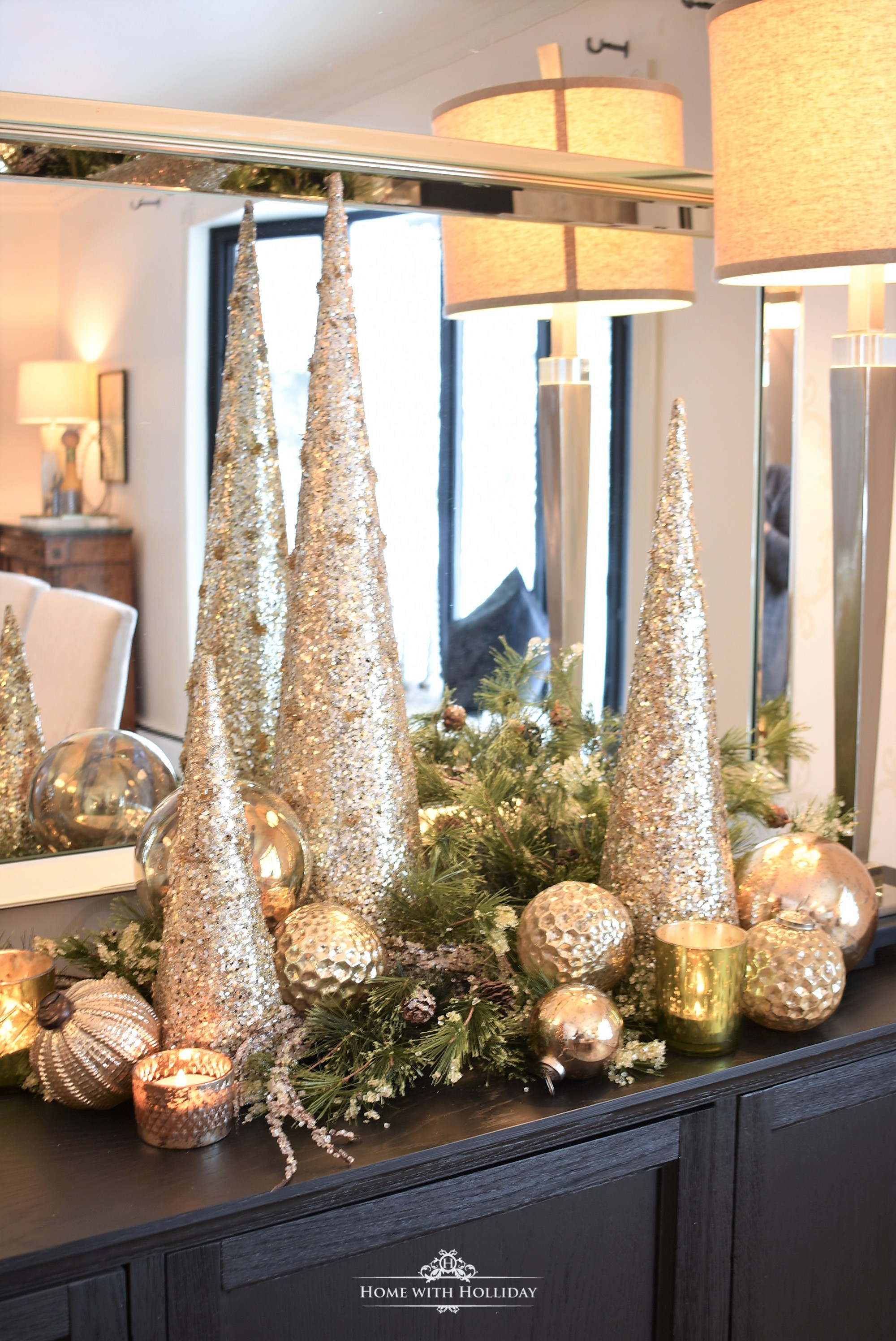 Silver and Gold Glam Christmas Centerpiece with greenery, gold cone trees and ornaments