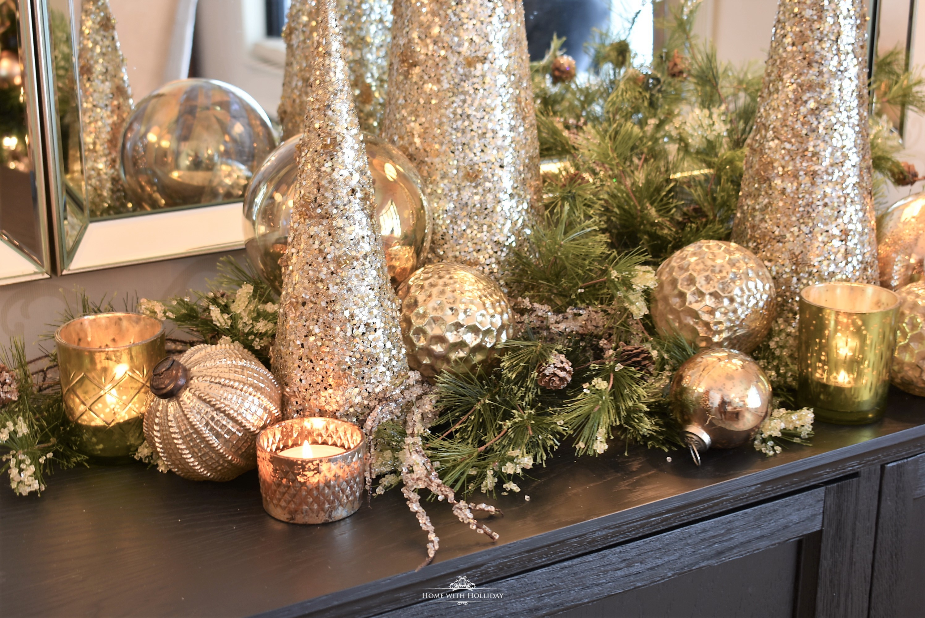 Silver and Gold Glam Christmas Vignette with gold balls and cone trees and votive candles