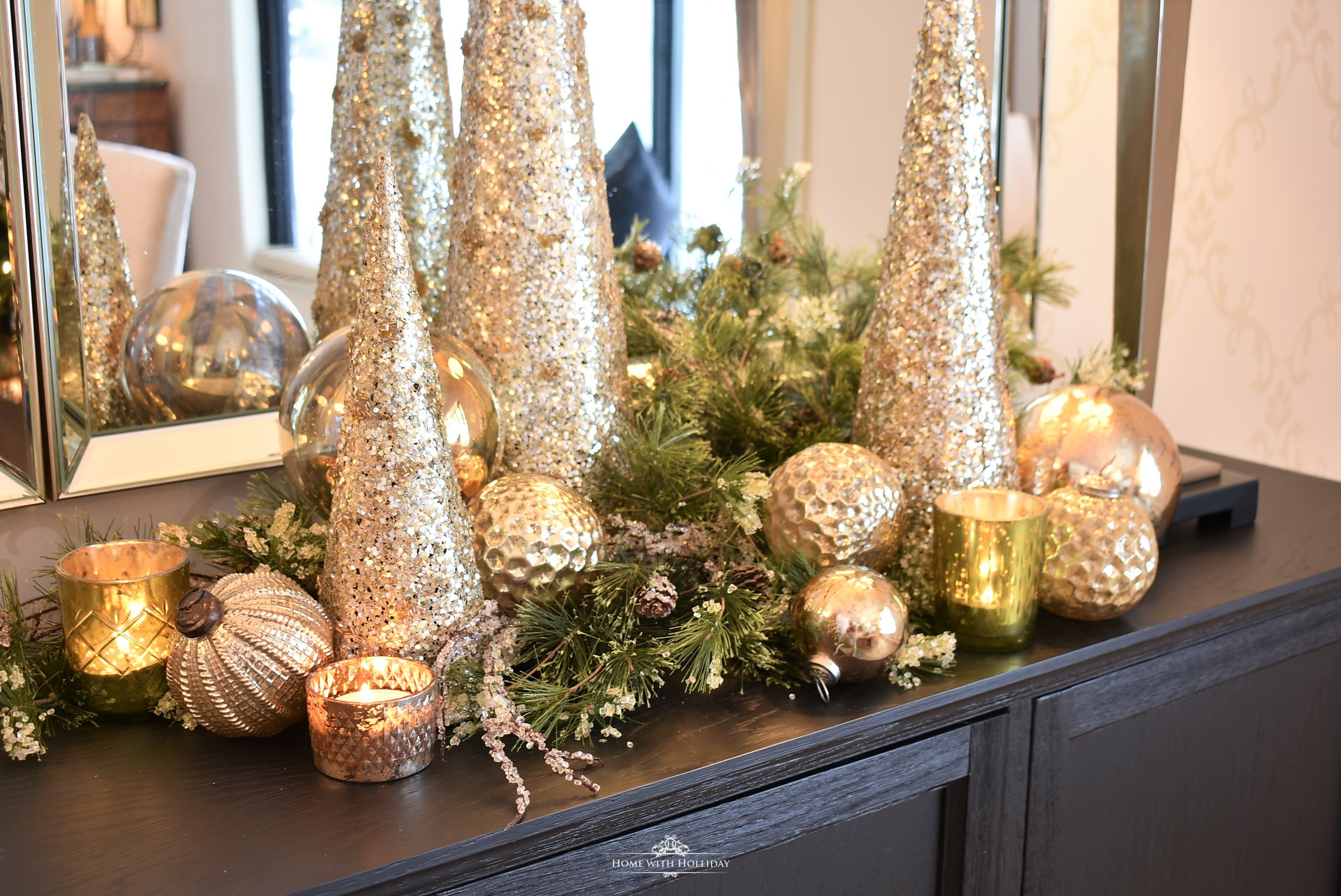 Silver and Gold Glam Christmas Centerpiece with gold cone trees and gold ornament balls