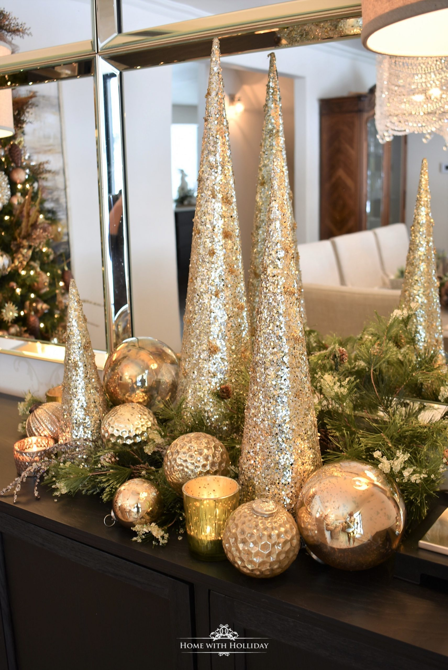 Silver and Gold Glam Christmas Vignette with gold cone trees and gold ball ornaments