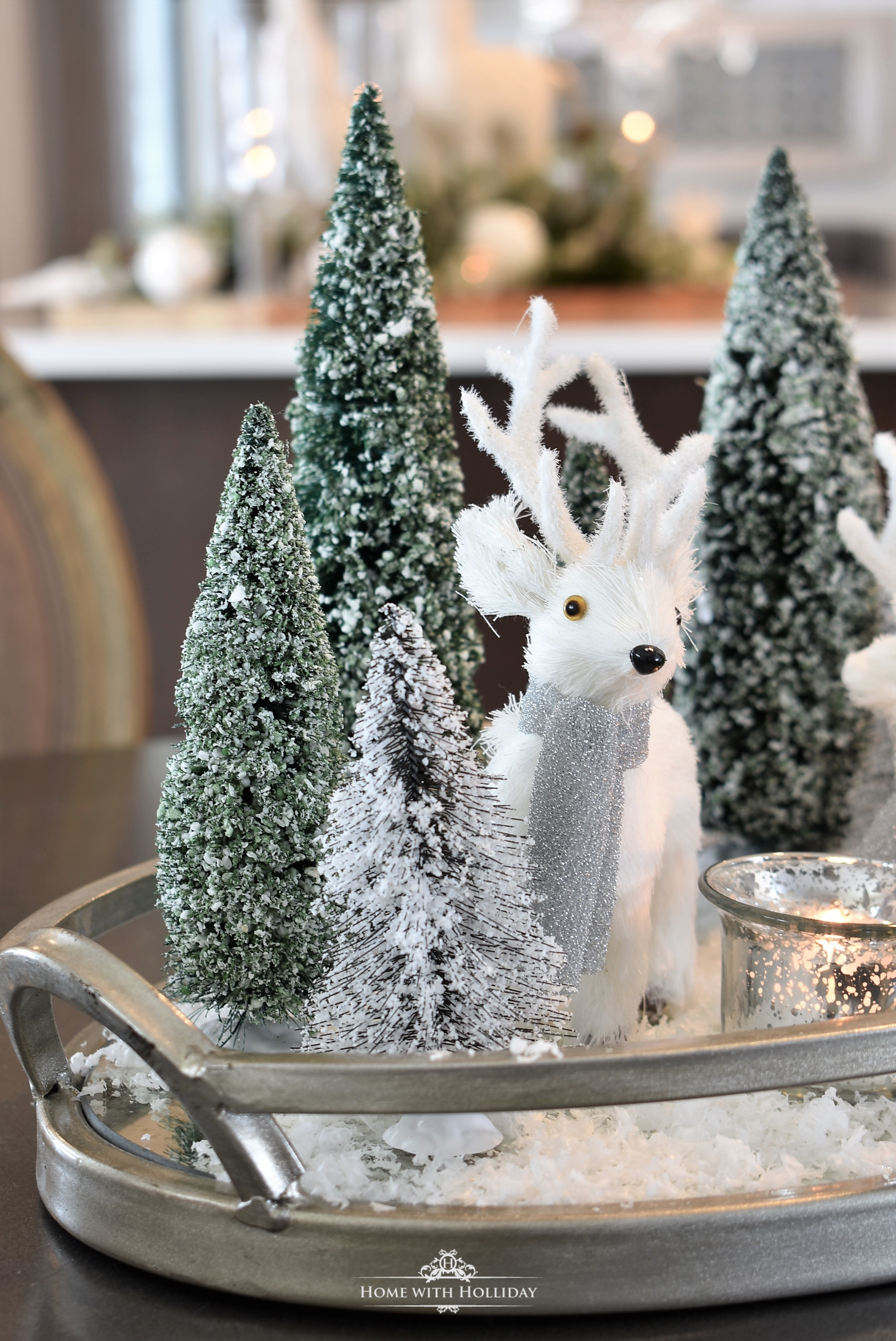 Tiny Winter White Christmas Centerpiece - Home with Holliday